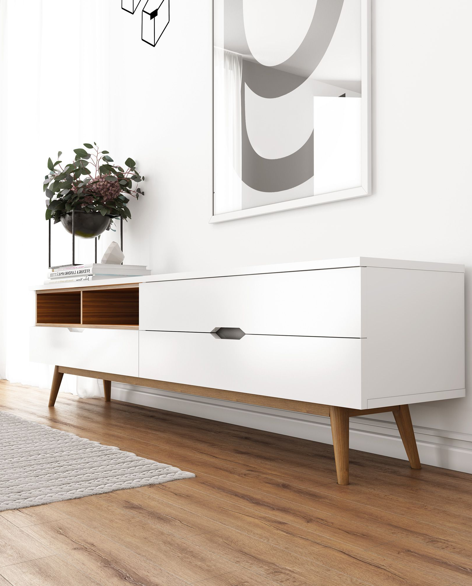 Nilsson Tv Stand | Rove Concepts Rove Concepts Mid Century Pertaining To Mid Century Modern Glossy White Buffets (View 14 of 20)