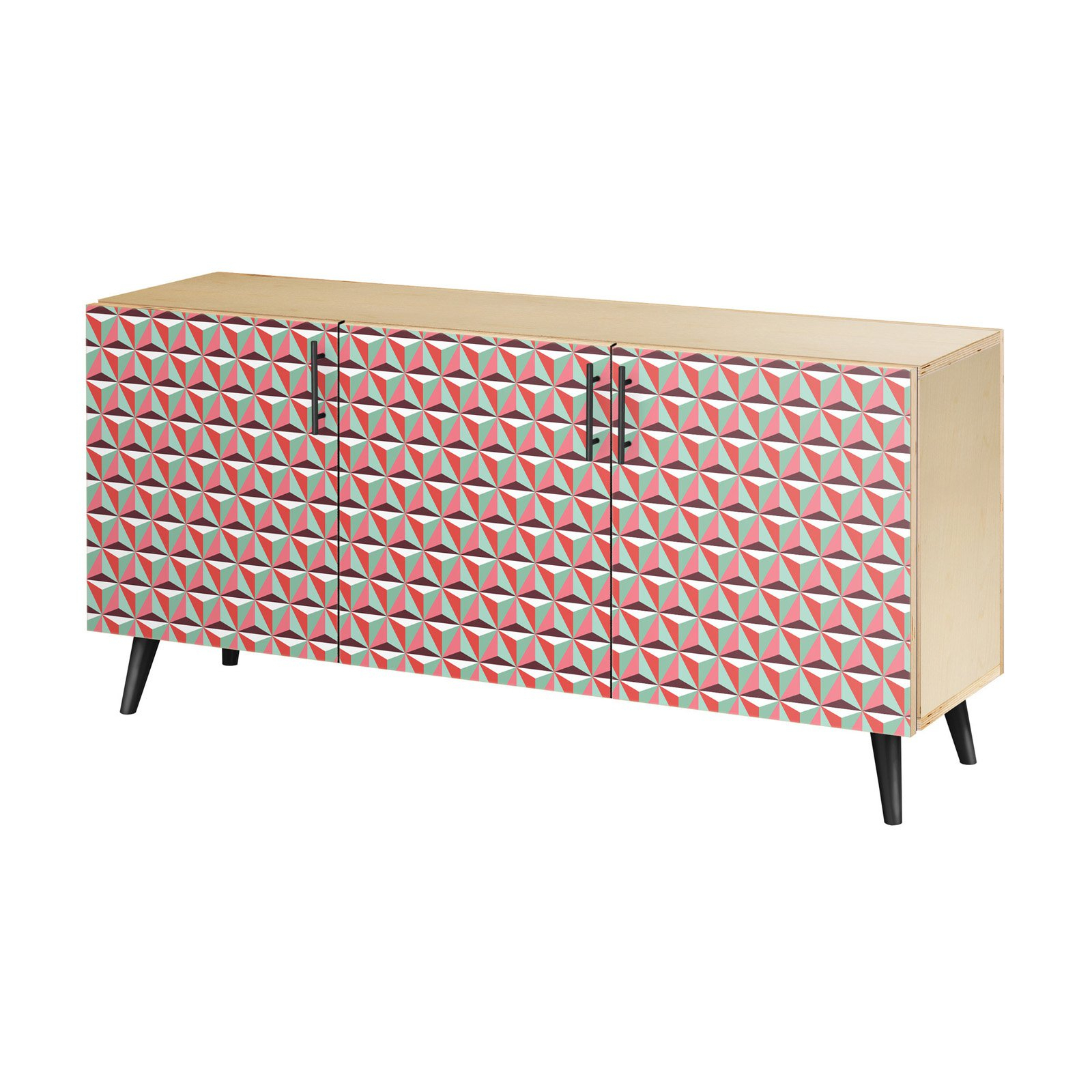 Nyekoncept Vibrant Tessellation Flare Sideboard | Products For Southwest Pink Credenzas (View 8 of 20)