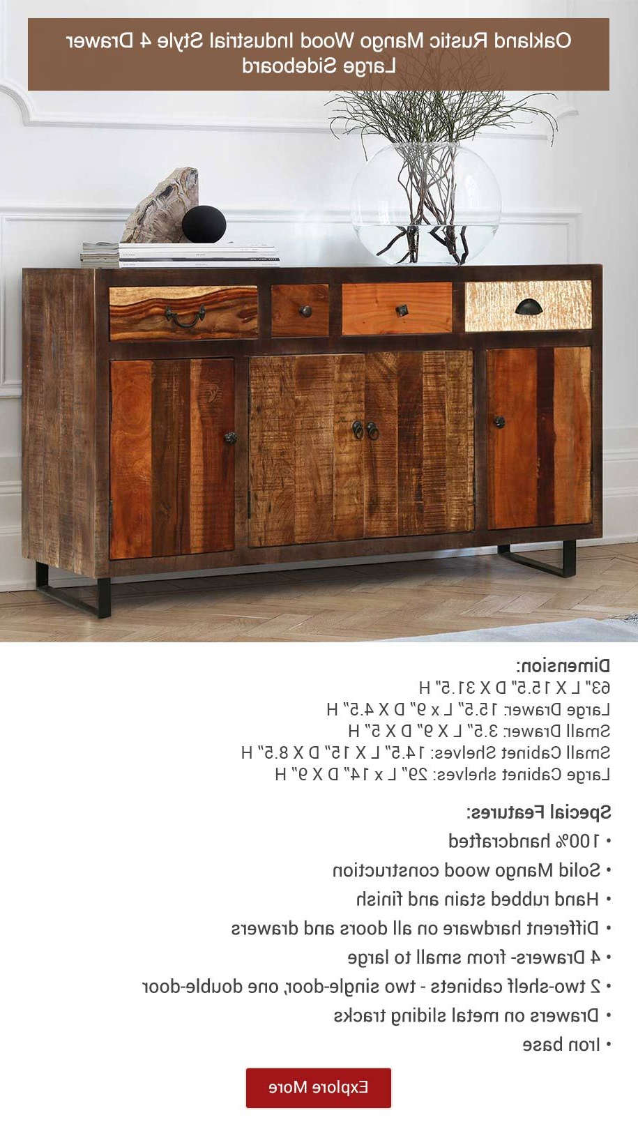Oakland Rustic Mango Wood 4 Drawer Large Sideboard | Buffets Intended For Industrial Style 3 Drawer Buffets (View 4 of 20)