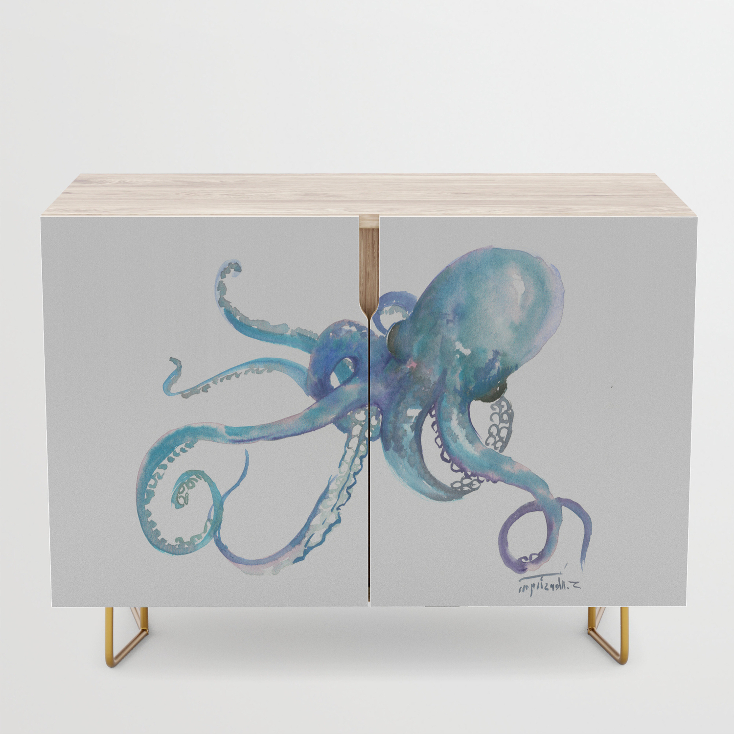 Octopus, Turquoise Blue, Sky Blue Underwater Scene Sea World Octopus Art Credenza Pertaining To Turquoise Skies Credenzas (View 14 of 20)