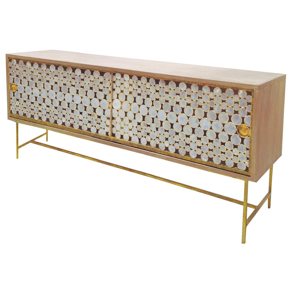 Oly Studio Serena Capiz Shell Gold Driftwood Buffet Regarding Floral Beauty Credenzas (View 11 of 20)