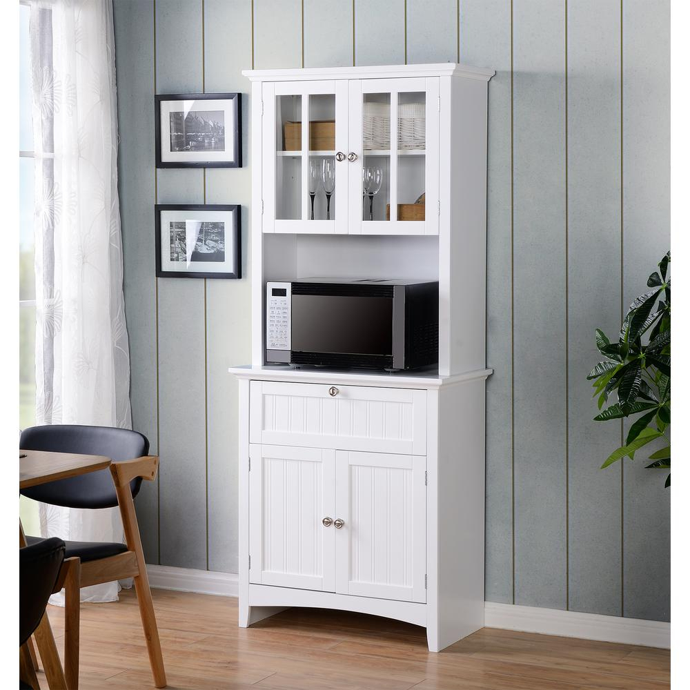 Os Home And Office Furniture White Buffet And Hutch With In Contemporary Three Tier Glass Buffets With Black Metal Frame (View 13 of 20)