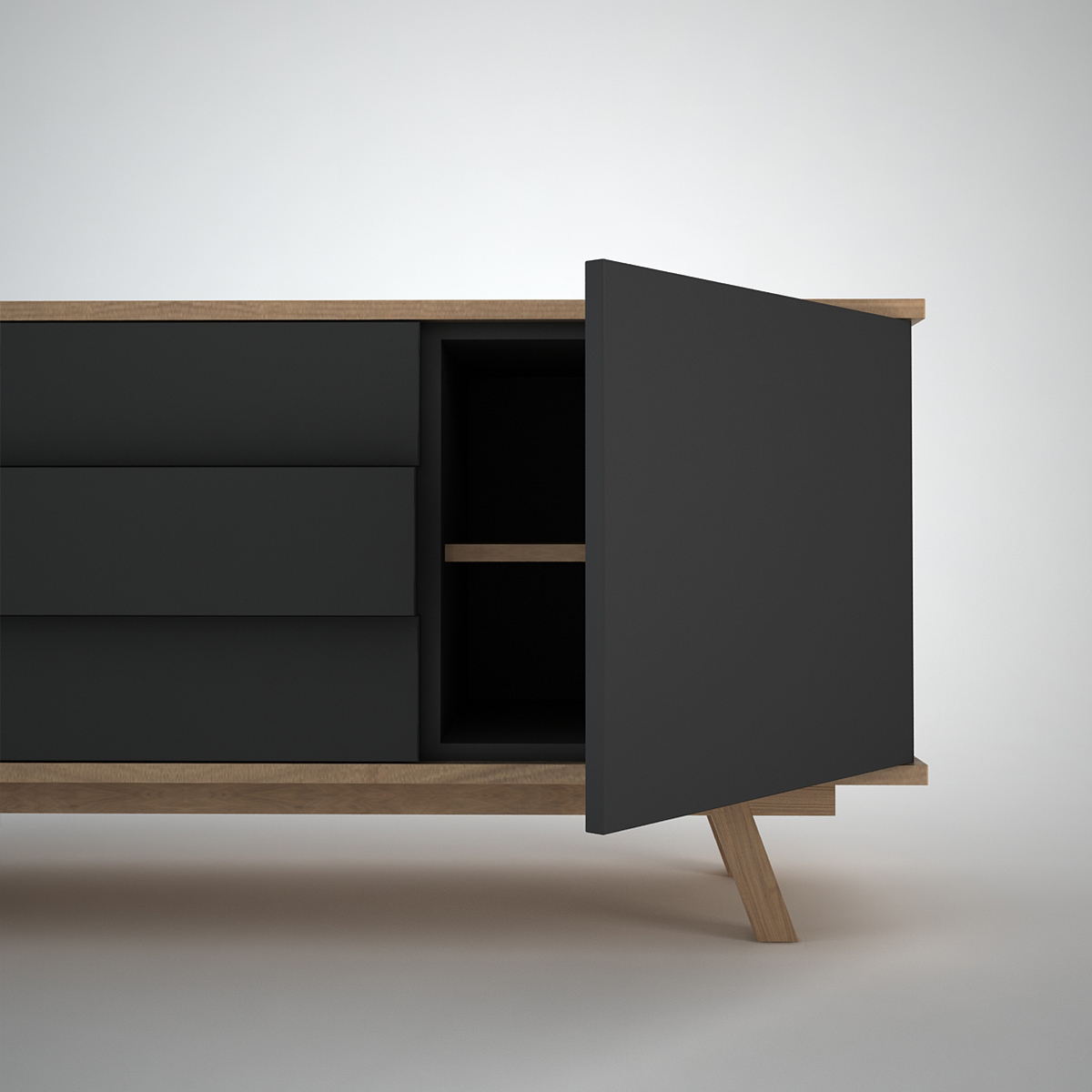 Ottawa Sideboard (2+3) Anthracite Within Contemporary Black Buffets (View 18 of 20)
