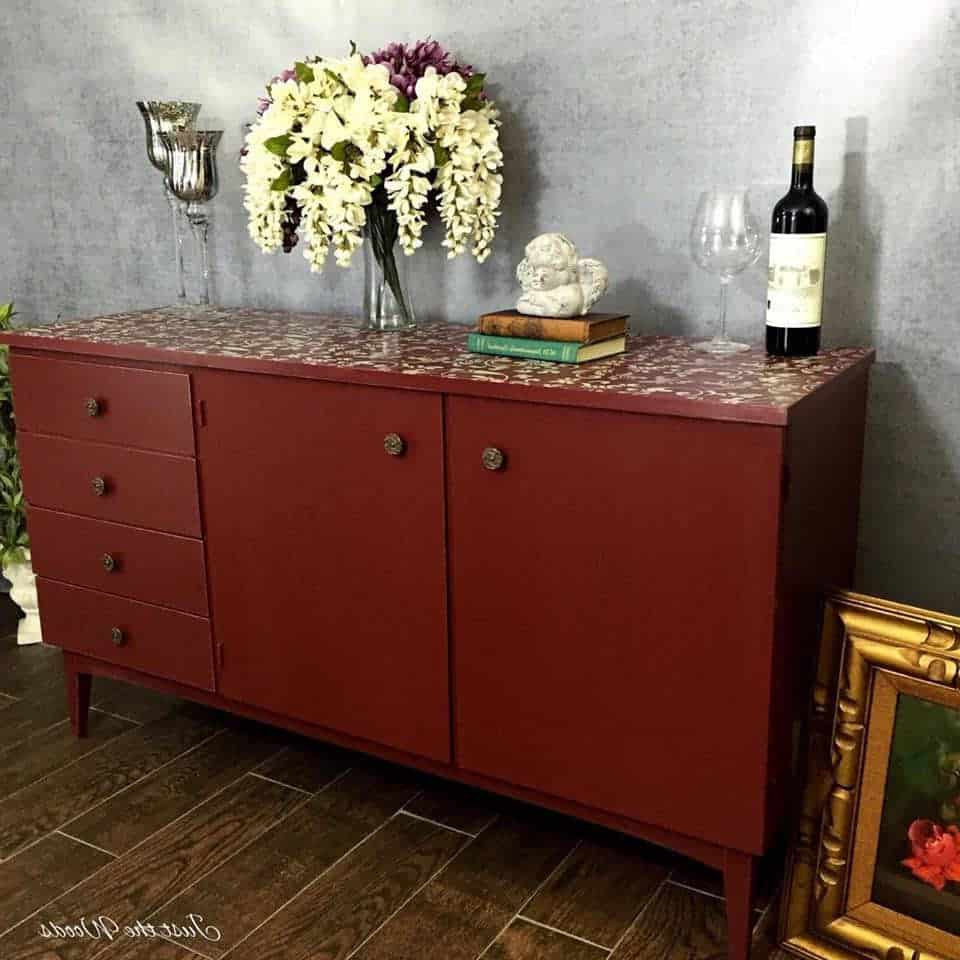 Painted Cranberry Credenza With Floral Stencil Top Pertaining To Purple Floral Credenzas (View 18 of 20)