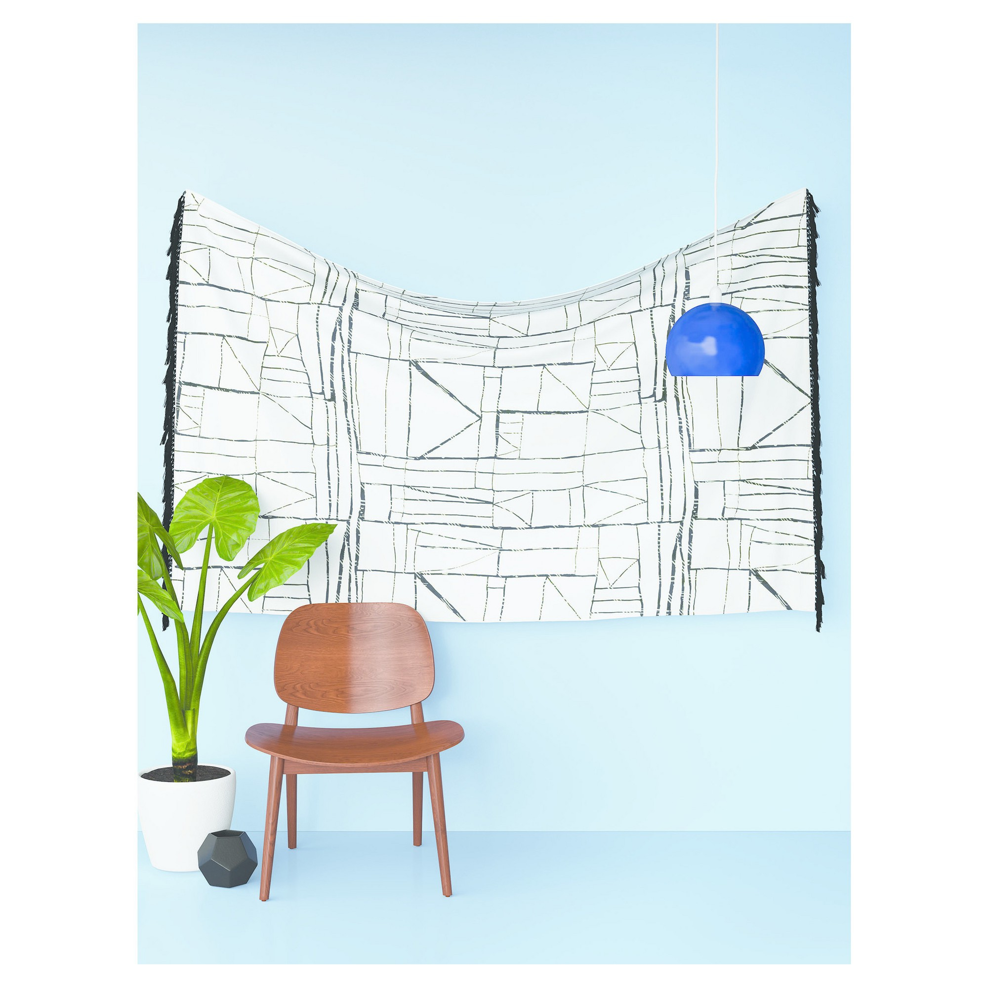 """Patchwork Lines Tapestry 48""""x72"""" Black – Room Essentials In With Regard To Mandala Tile Marine Credenzas (View 16 of 20)"""
