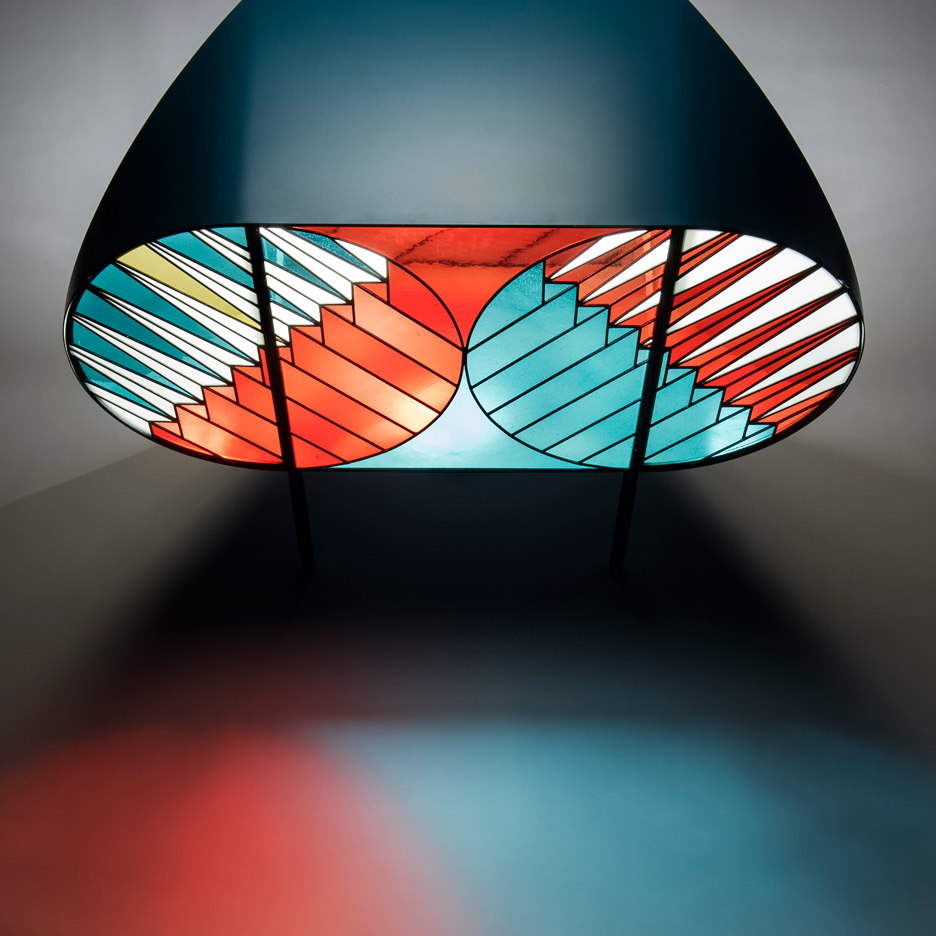 Patricia Urquiola Uses Stained Glass For Credenza Cabinets Pertaining To Blue Stained Glass Credenzas (View 9 of 20)