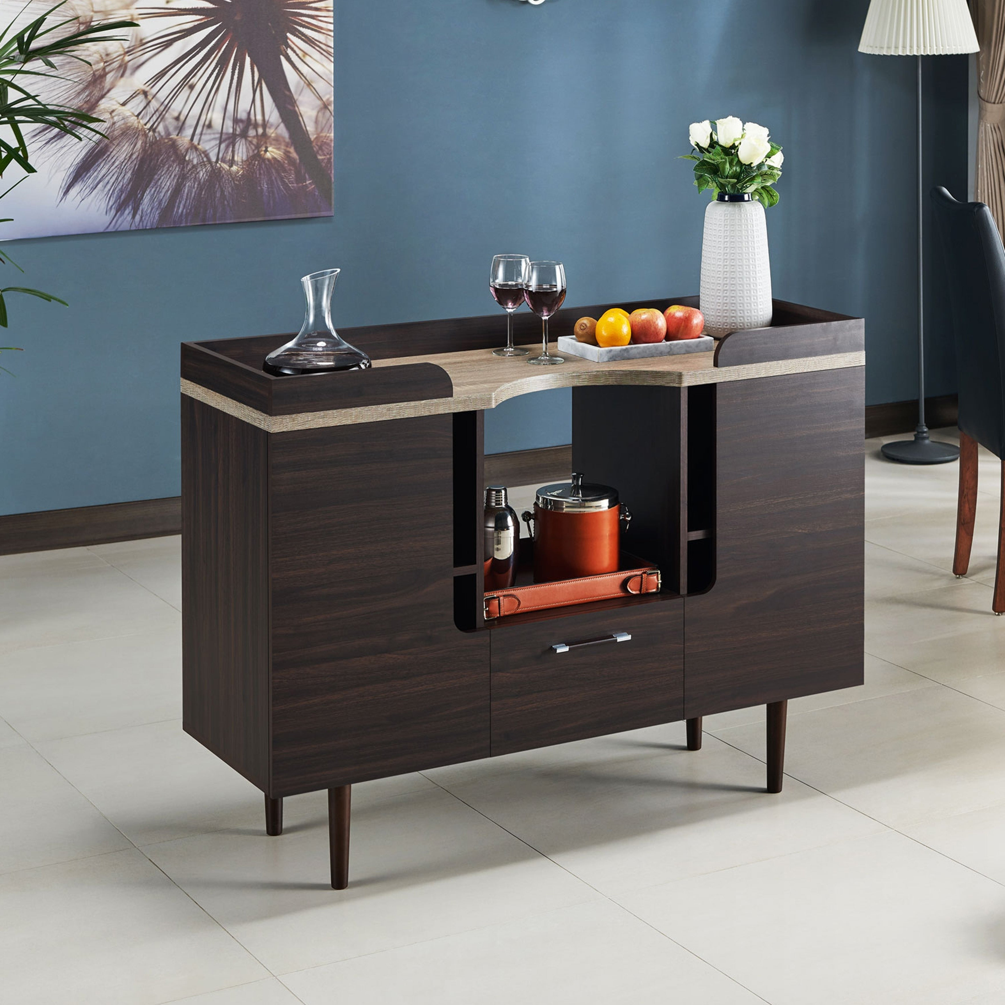 Pattermon Mid Century Modern Two Tone Wenge Buffet Serverfoa Throughout Modern Mid Century Buffets (View 15 of 20)