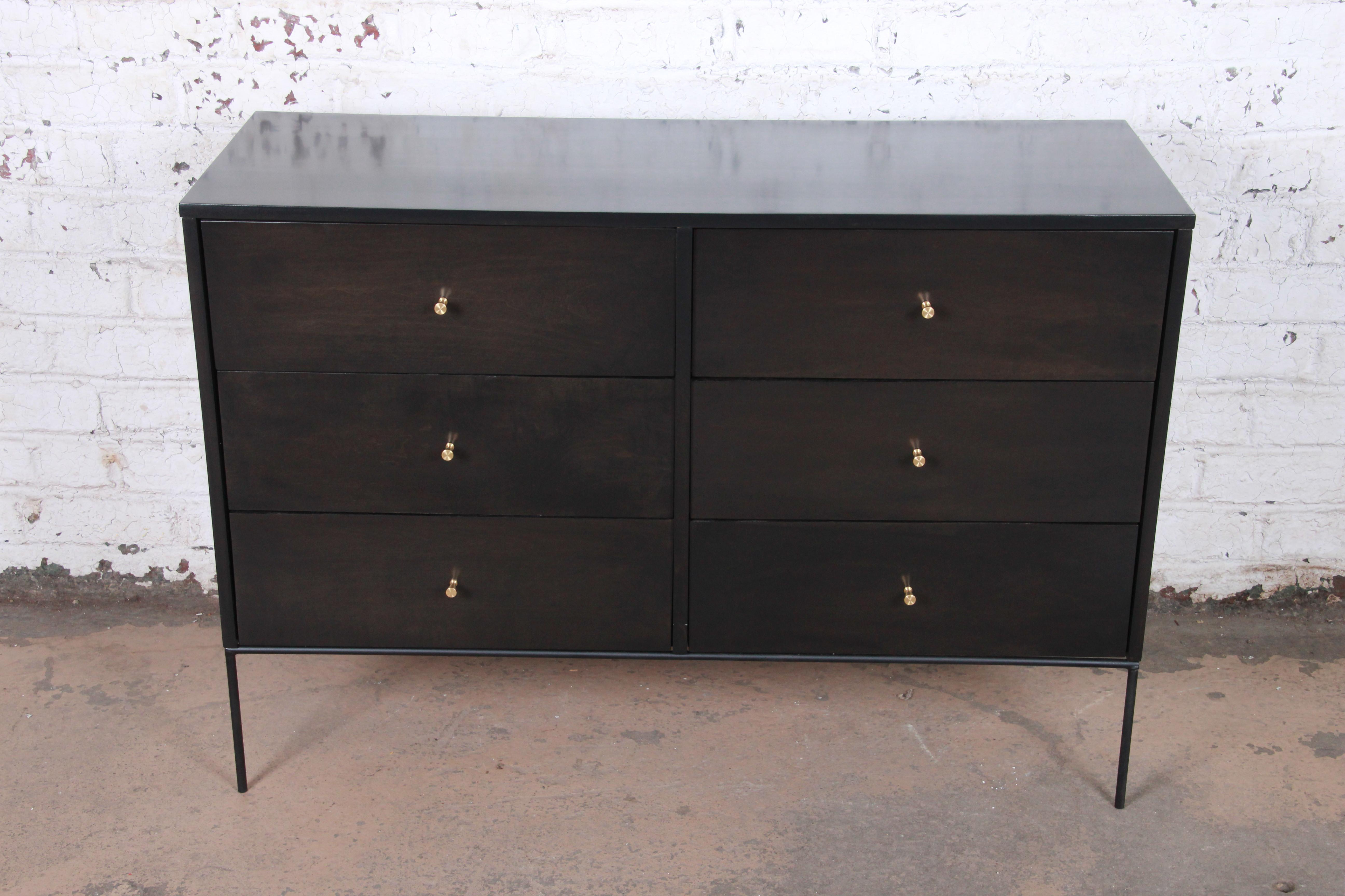 Paul Mccobb Planner Group Iron Base Ebonized Six Drawer Dresser Or Credenza For Line Geo Credenzas (View 16 of 20)