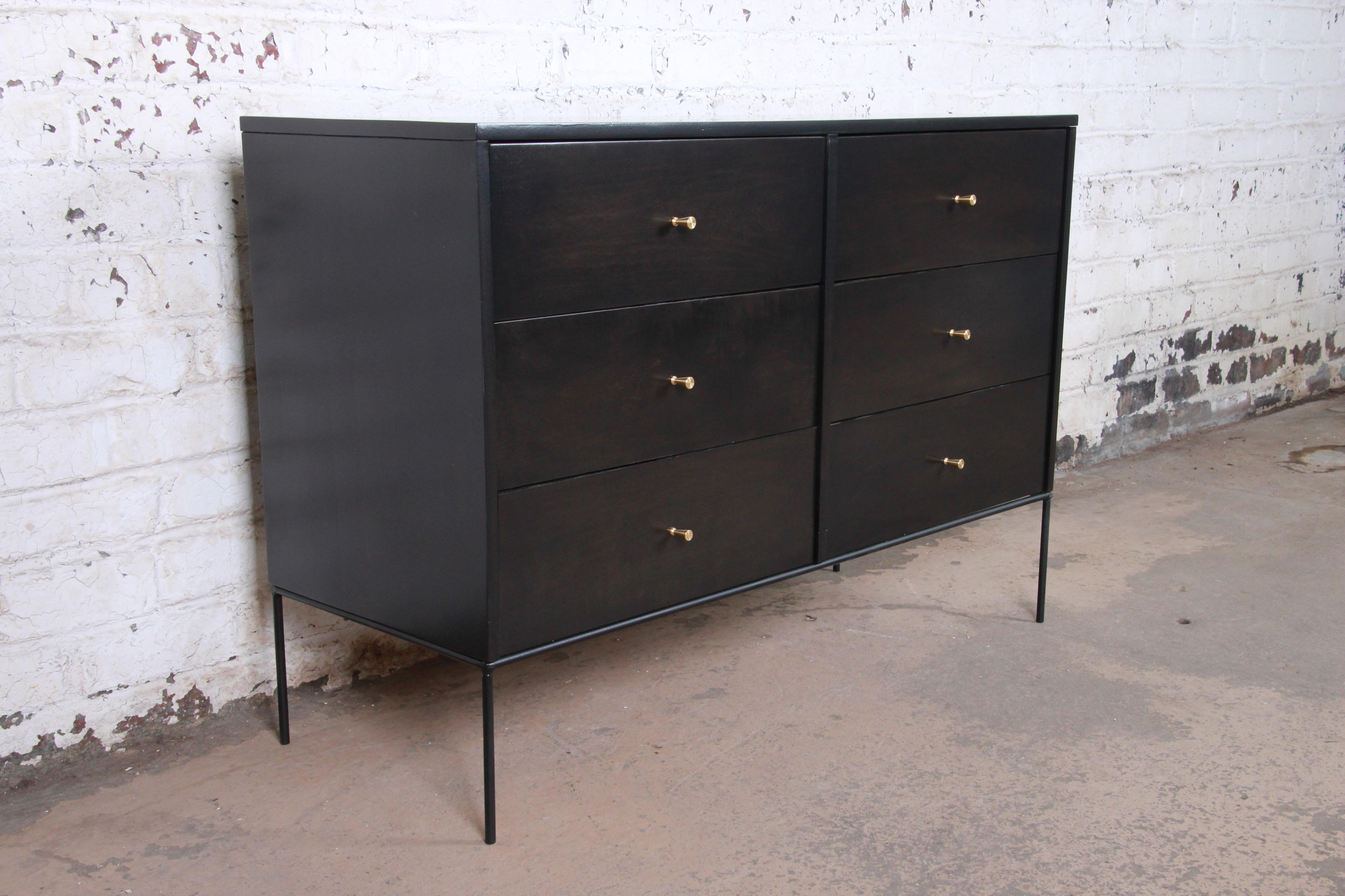 Paul Mccobb Planner Group Iron Base Ebonized Six Drawer Dresser Or Credenza Throughout Line Geo Credenzas (View 17 of 20)