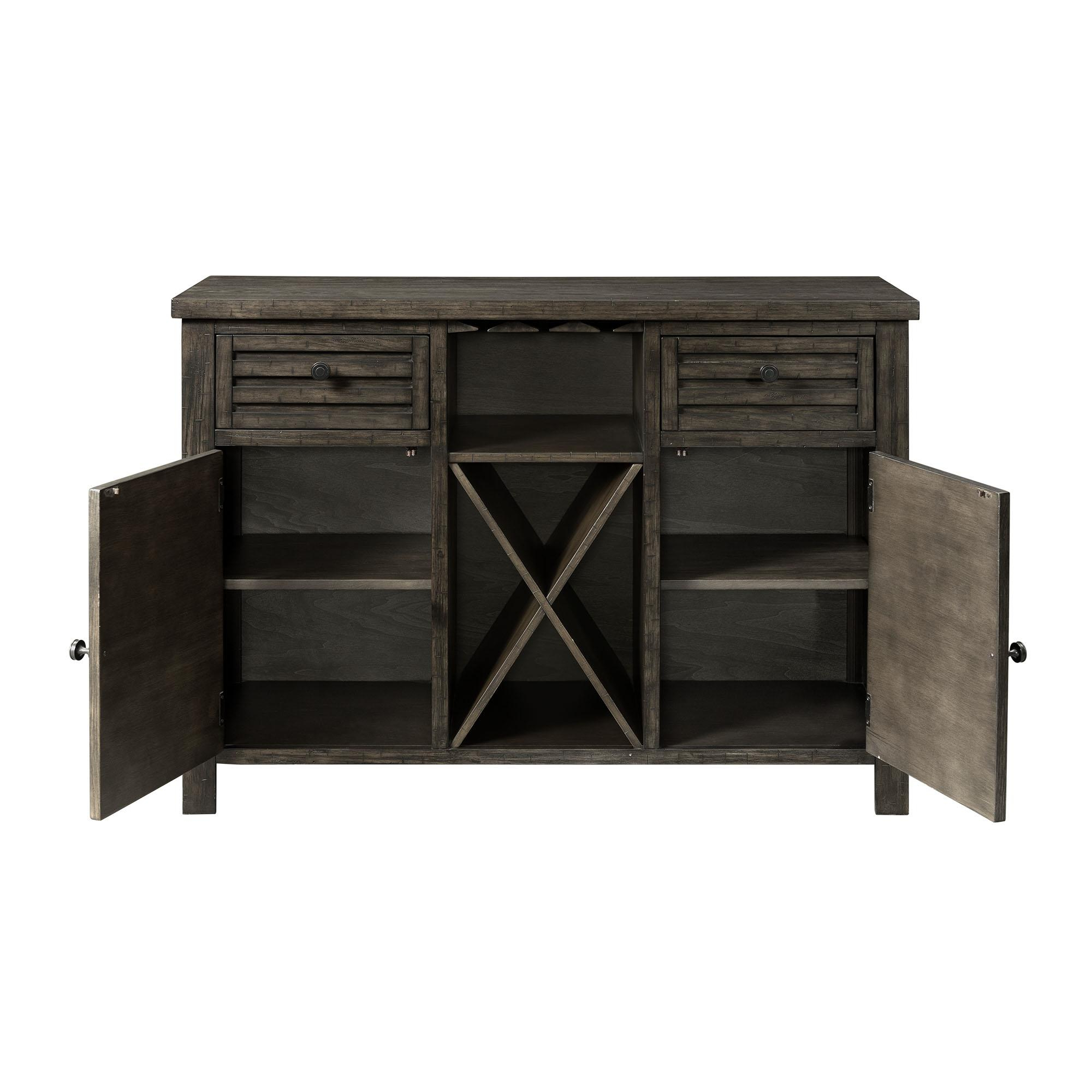 Picket House Montego Dark Walnut Wood 2 Drawers Server Throughout Simple Living Montego Black Wooden Buffets (View 12 of 20)