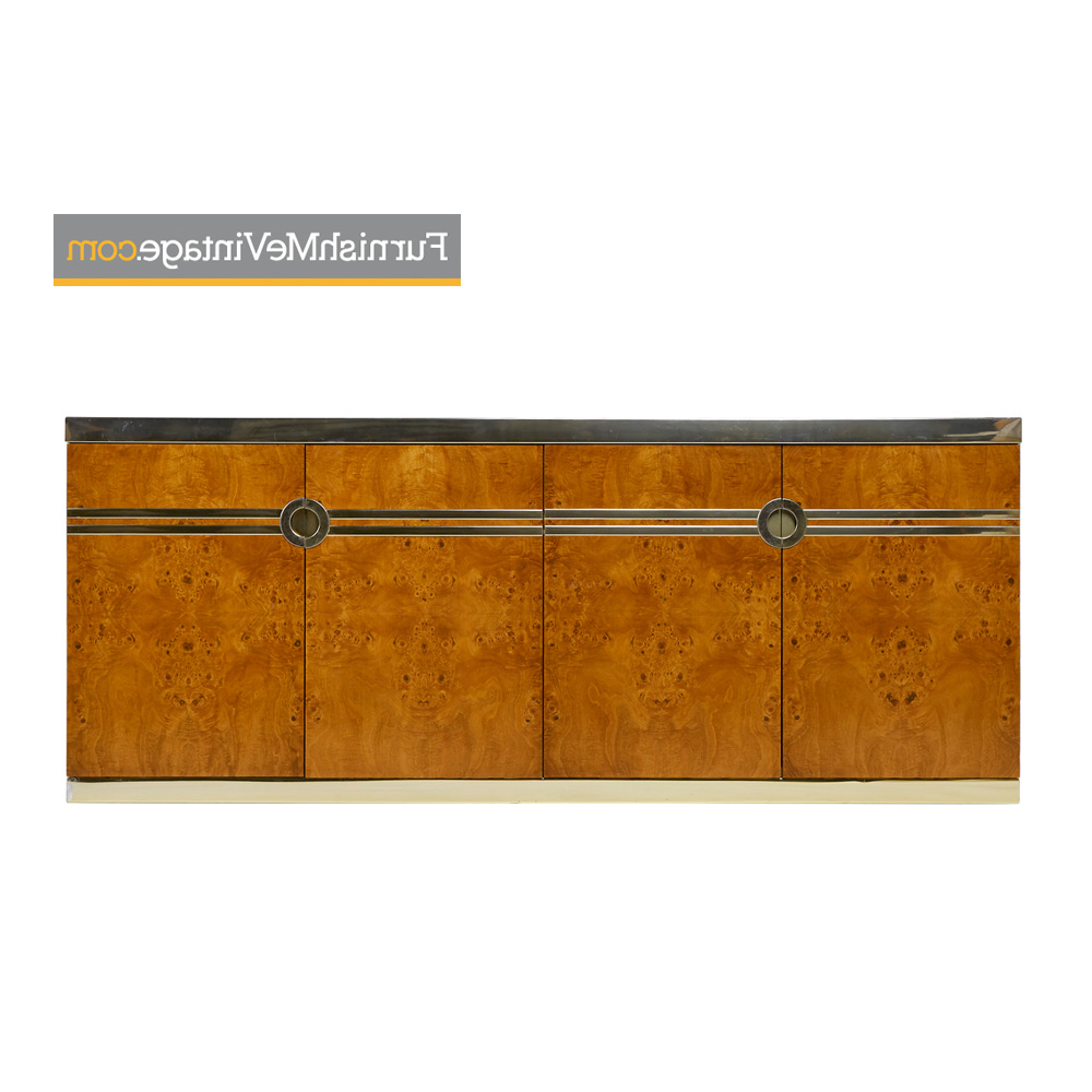 Pierre Cardin Burl And Brass Environmental Collection Credenza For Dillingham Within Geometric Shapes Credenzas (View 10 of 20)