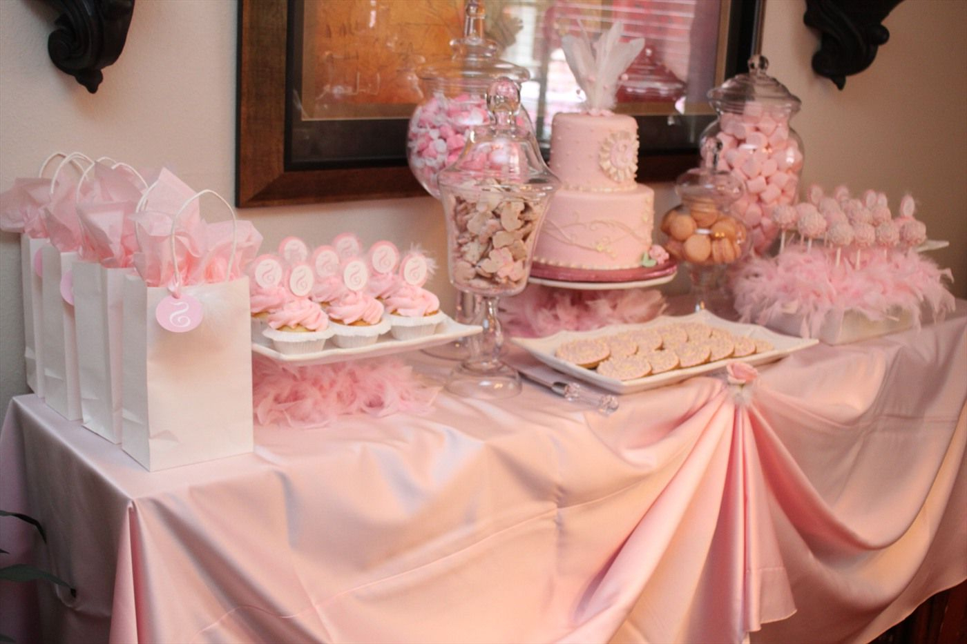 Pink Dessert Table~ Love The Cake Pop Display   ~celebrate Regarding Pink And White Geometric Buffets (View 4 of 20)