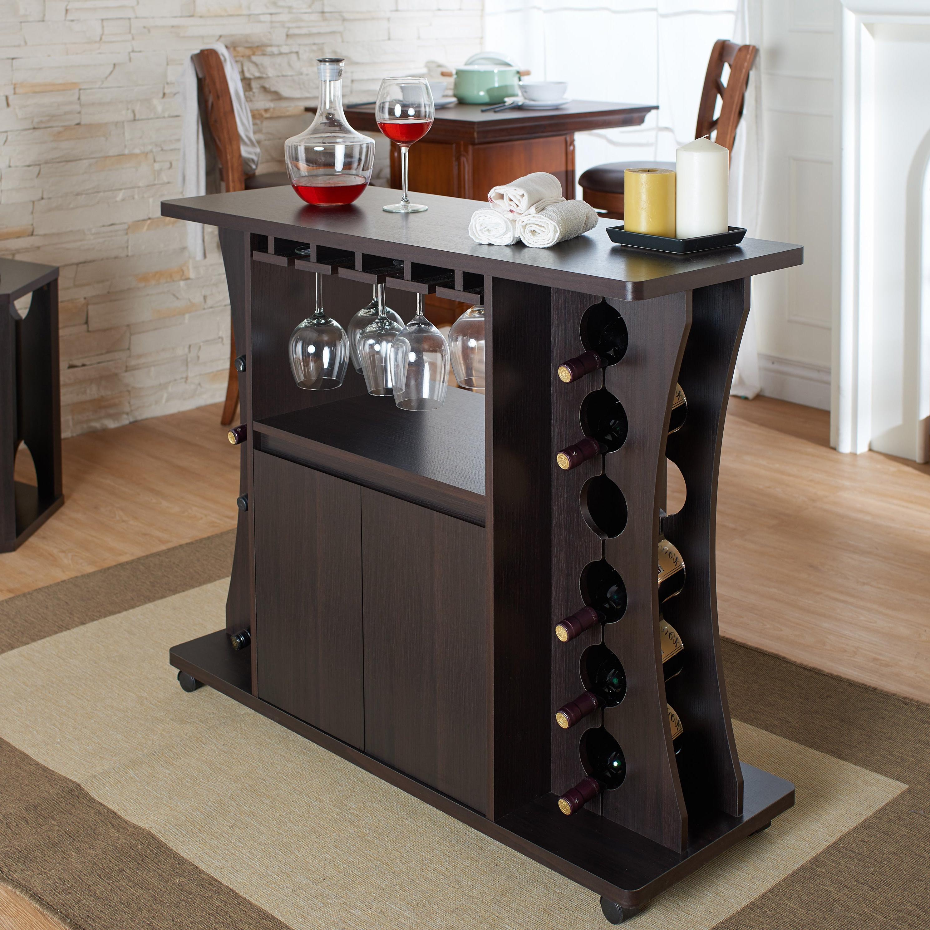 Porch & Den Northlawn Espresso Buffet With Wine Rack Regarding Espresso Wood Multi Use Buffets (View 3 of 20)