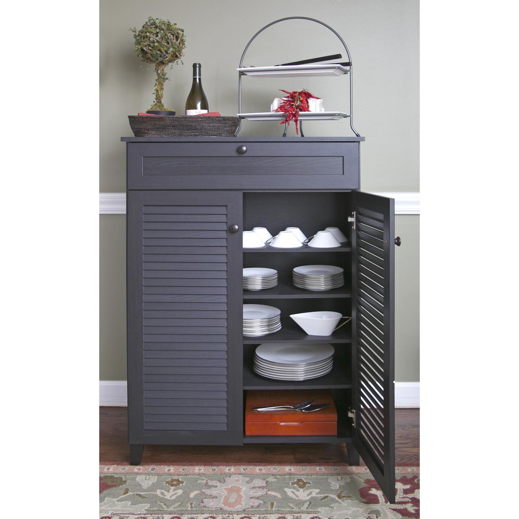 Porch & Den Rocheblave Espresso Wood Tall Multi Use Cabinet Within Espresso Wood Multi Use Buffets (View 13 of 20)