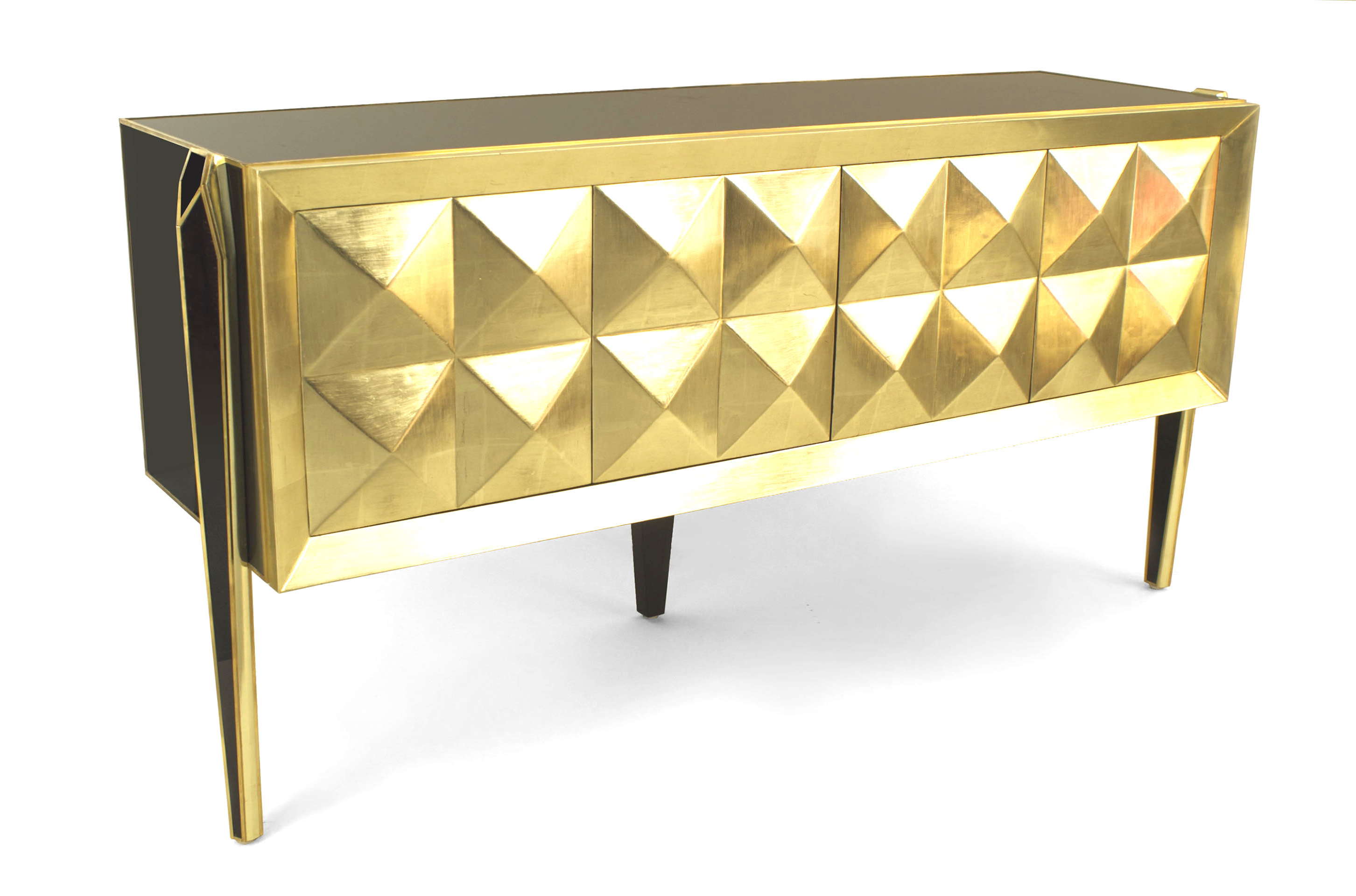 Post War Blue Glass Brass Credenza 1 | Newel Pertaining To Blue Stained Glass Credenzas (View 12 of 20)