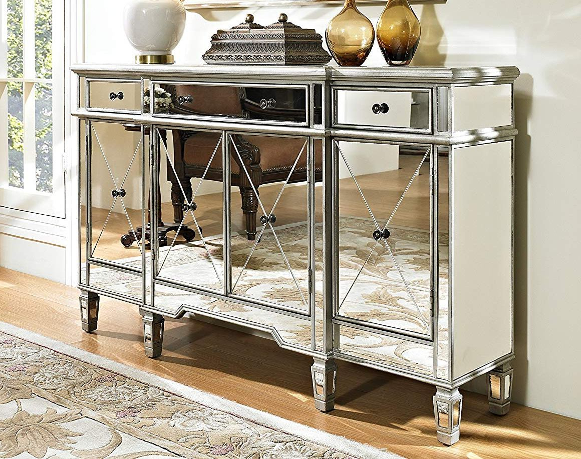 Powell Furniture 3 Drawers Mirrored Console With Mirrored Double Door Buffets (View 14 of 20)