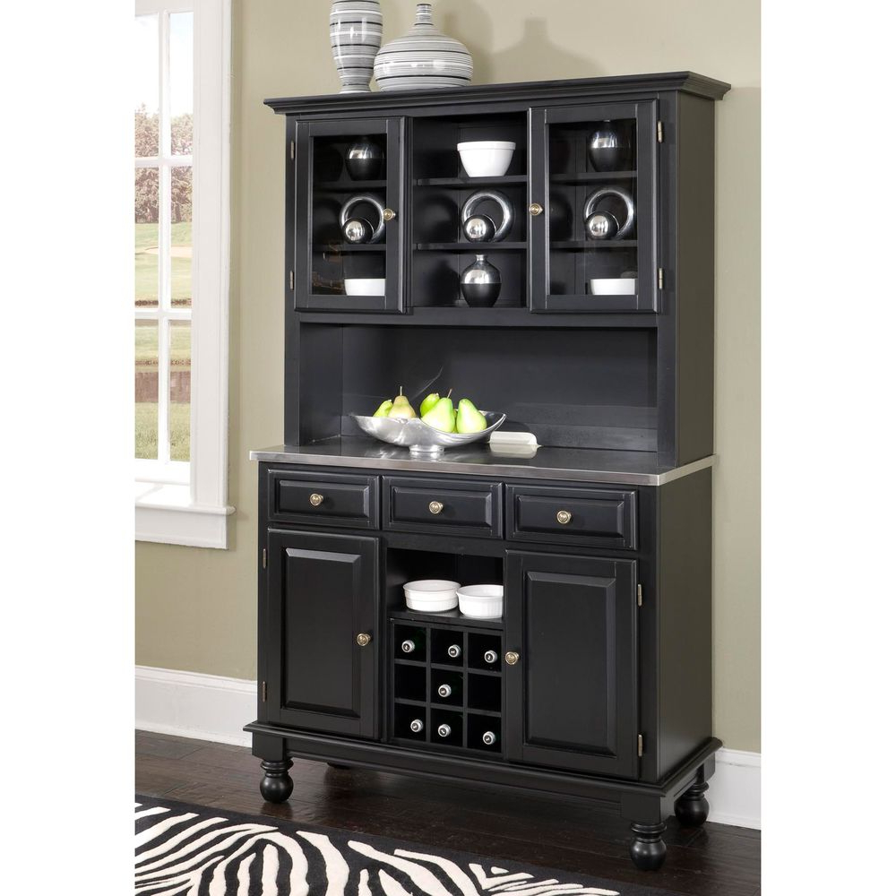 Premium Buffet With Stainless Top And Hutch | Overstock Regarding Black Hutch Buffets With Stainless Top (View 3 of 20)