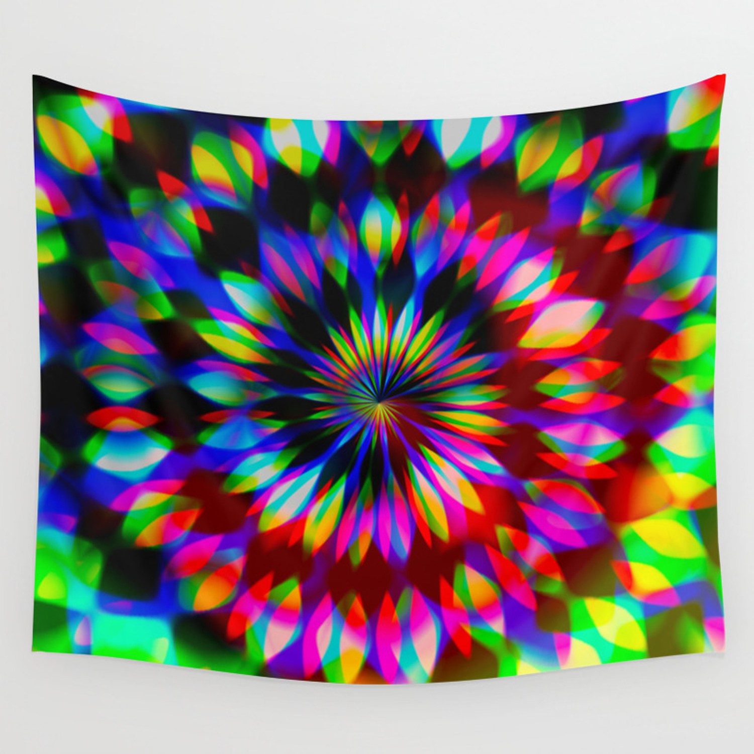 Psychedelic Rainbow Swirl Wall Tapestry With Symmetric Blue Swirl Credenzas (View 20 of 20)
