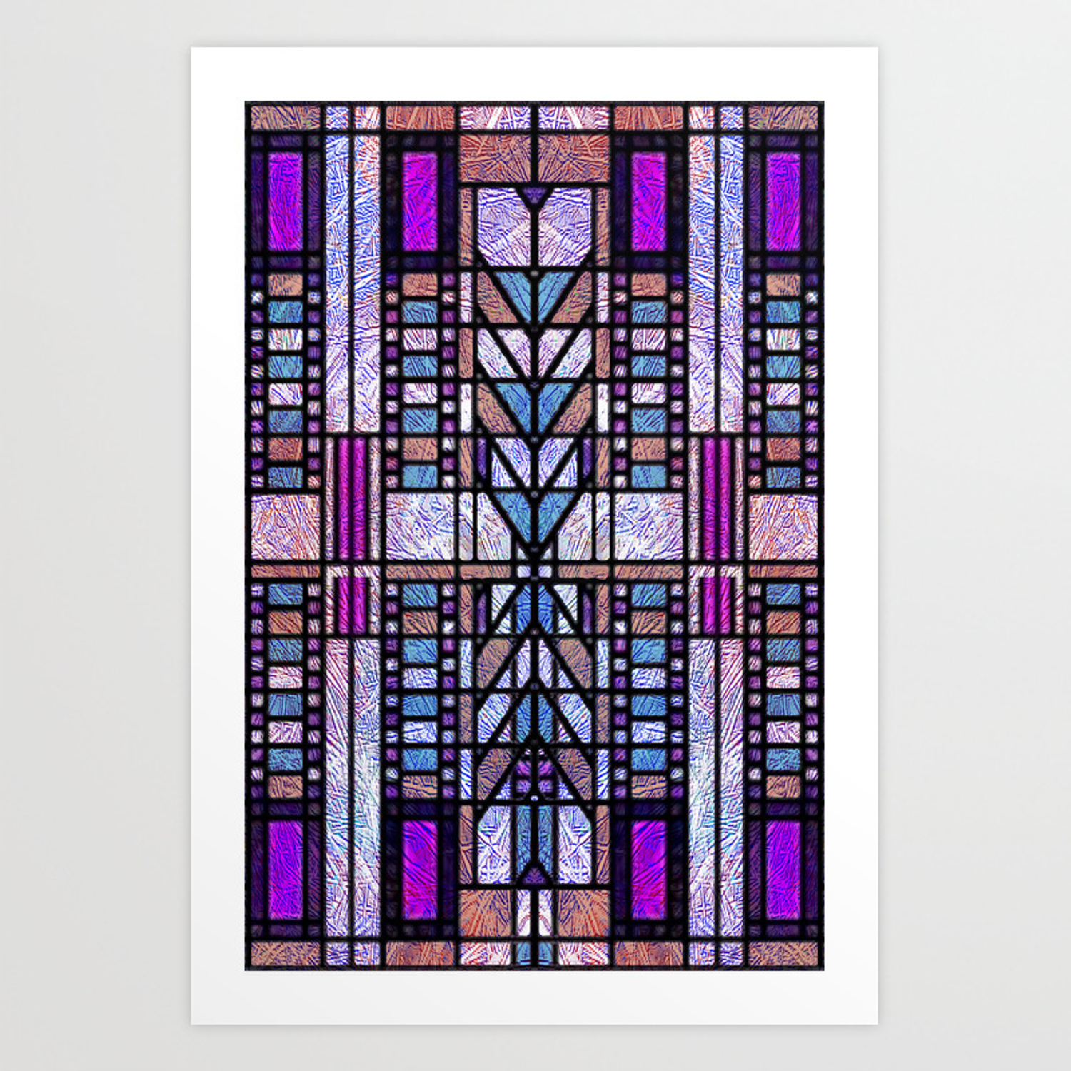 Purple And Blue Art Deco Stained Glass Design Art Print In Blue Stained Glass Credenzas (View 16 of 20)