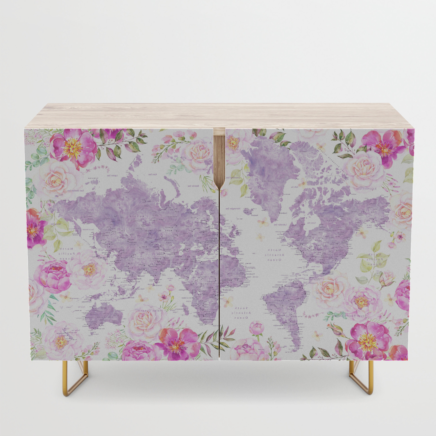 Purple Watercolor Floral World Map With Cities Credenza For Purple Floral Credenzas (View 3 of 20)