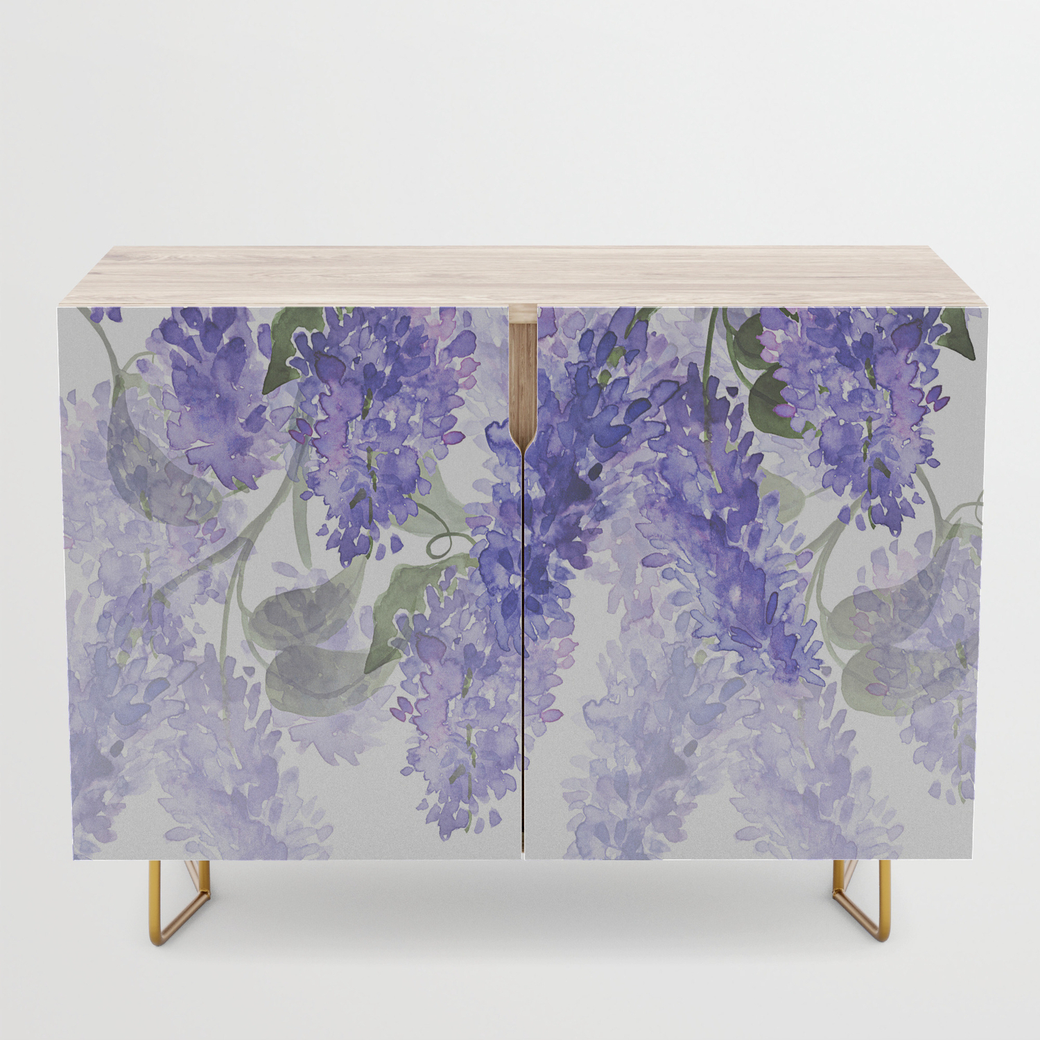 Purple Wisteria Flowers Credenza Within Purple Floral Credenzas (View 5 of 20)