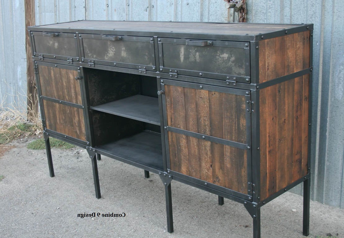 Reclaimed Wood Buffet, Rustic Industrial Sideboard. Vintage Industrial Media Console. Bar. Steel & Wood. Modern Credenza (View 18 of 20)