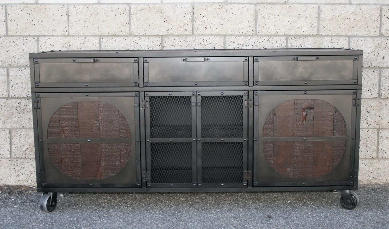 Reclaimed Wood Credenza/sideboard. Rustic Industrial. Vintage Style Media Console. Modern Buffet, Wood & Steel Sideboard (View 11 of 20)