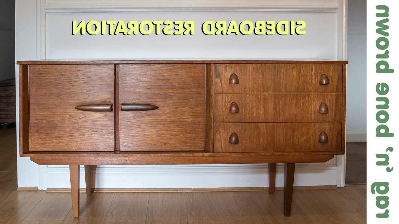 Restoring And Repairing A Mid Century Modern Style Sideboard Within Mid Century Brown And Grey Sideboards (View 12 of 20)