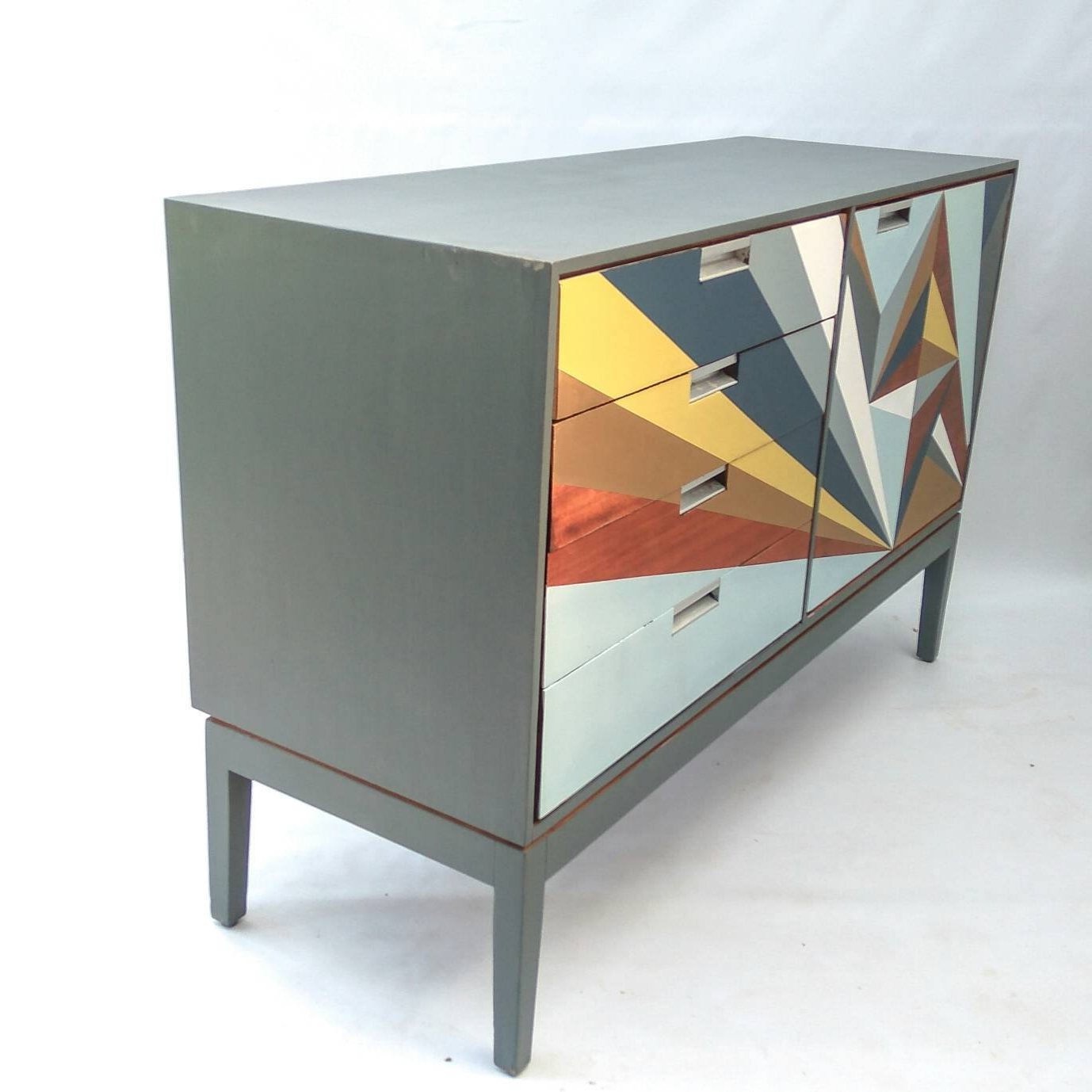 Retro Sideboard Geometric Handpainted Mid Centuryteak Buffet Intended For White Geometric Buffets (View 17 of 20)
