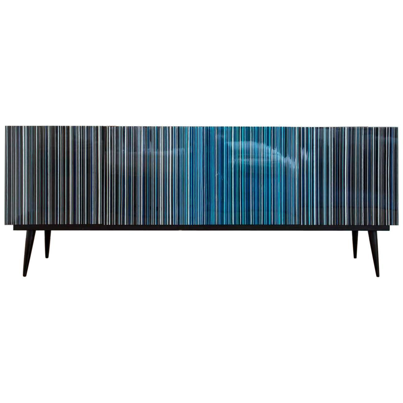 Retro Style Buffet Credenza, Barcode Design In Colored Glass, Black In Turquoise Intended For Blue Stained Glass Credenzas (View 3 of 20)
