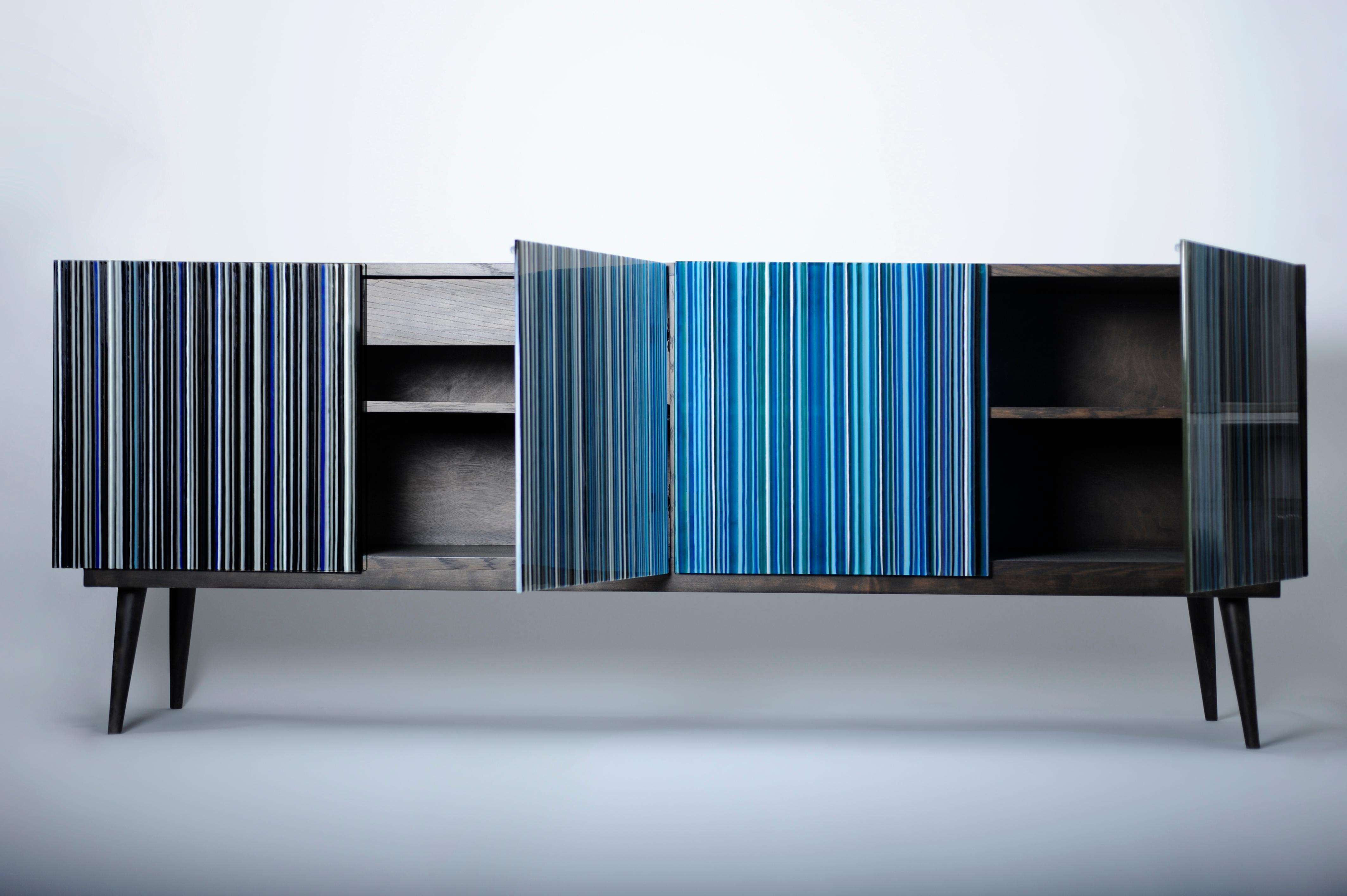 Retro Style Buffet Credenza, Barcode Design In Colored Glass, Shades Of Blue In Blue Stained Glass Credenzas (View 2 of 20)