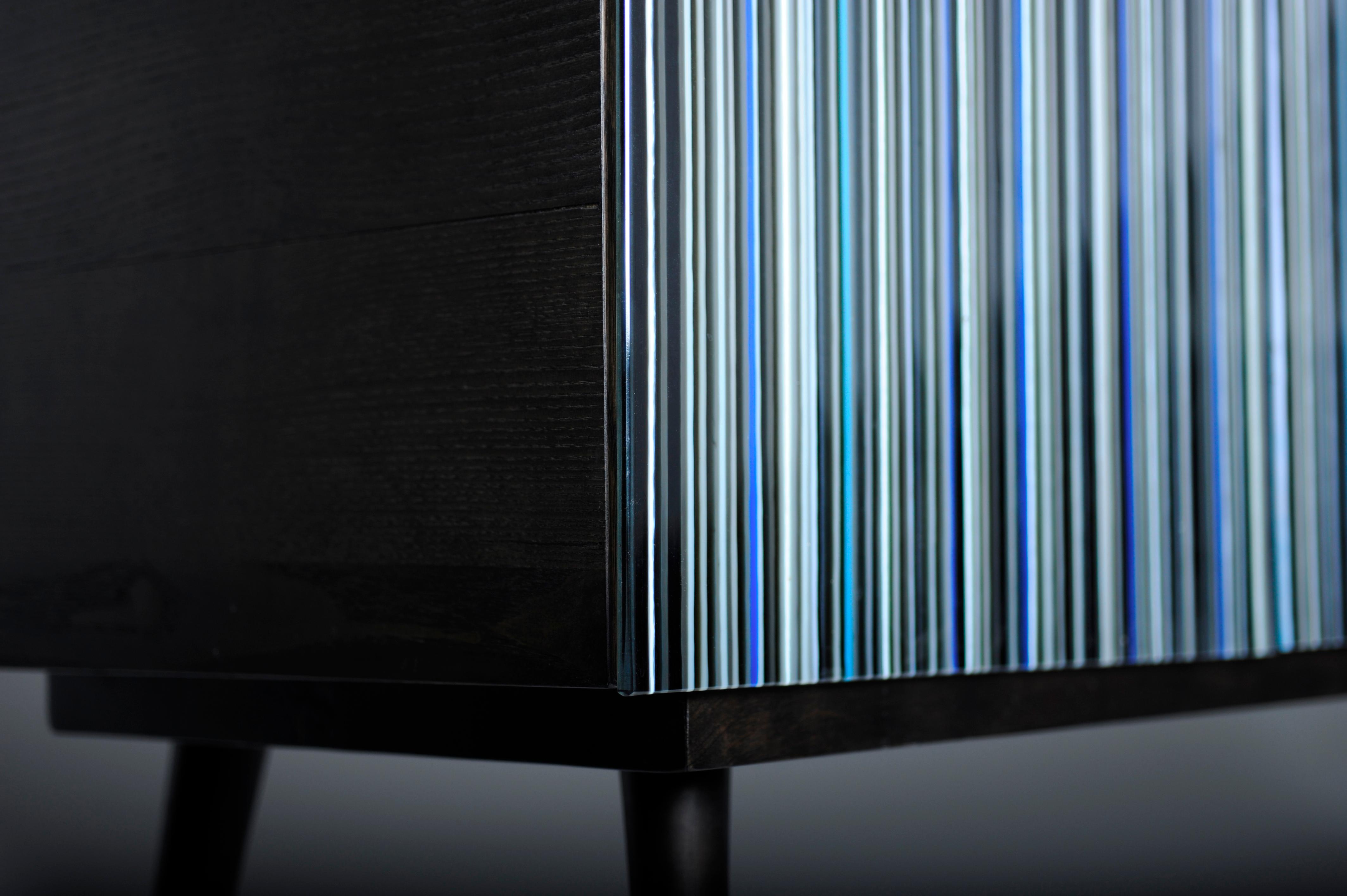 Retro Style Buffet Credenza, Barcode Design In Colored Glass, Shades Of Blue Inside Blue Stained Glass Credenzas (View 7 of 20)