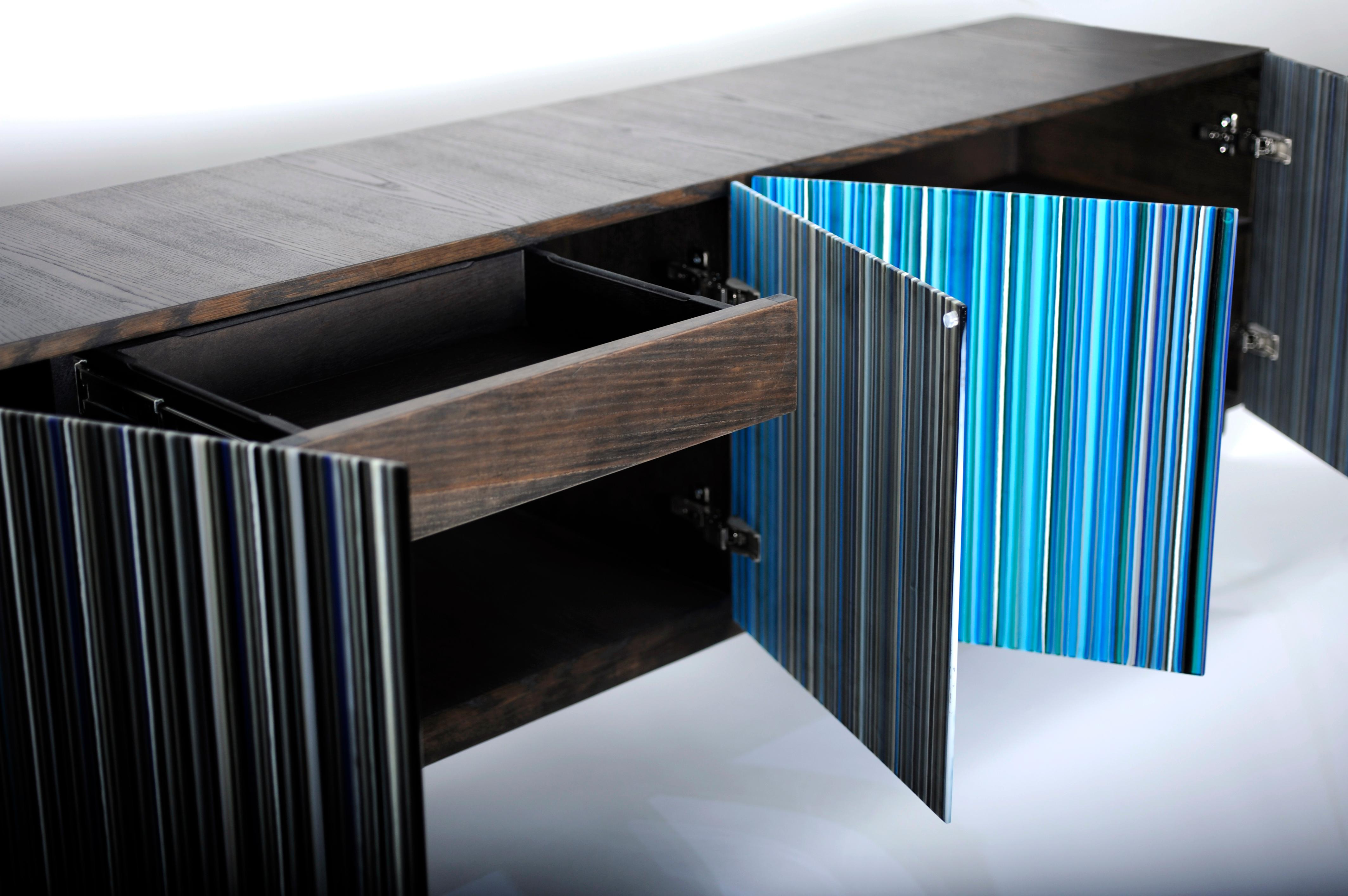 Retro Style Buffet Credenza, Barcode Design In Colored Glass, Shades Of Blue Intended For Blue Stained Glass Credenzas (View 15 of 20)