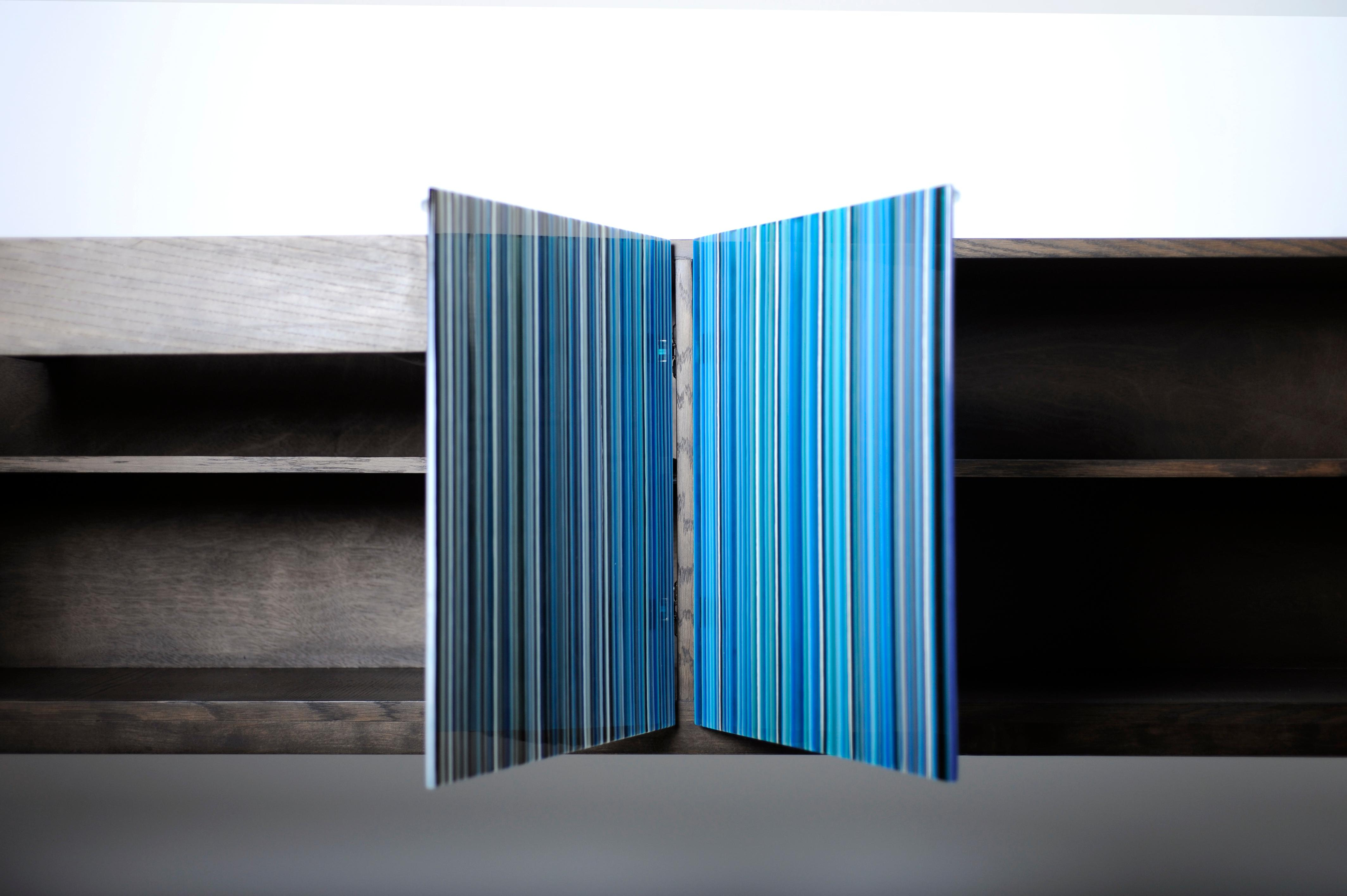 Retro Style Buffet Credenza, Barcode Design In Colored Glass, Shades Of Blue Within Blue Stained Glass Credenzas (View 9 of 20)