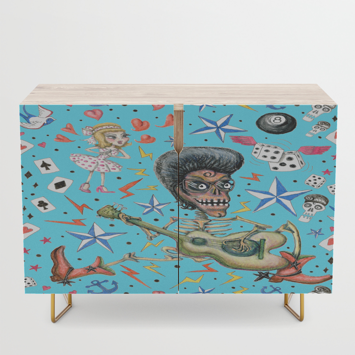 Rockabilly Bone Daddy Crush, Blue Turquoise Aqua Credenza Inside Turquoise Skies Credenzas (View 16 of 20)