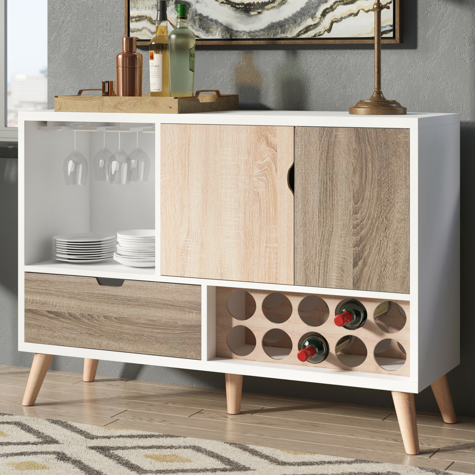 Rogerson Contemporary Server Within Light White Oak Two Tone Modern Buffets (View 6 of 20)