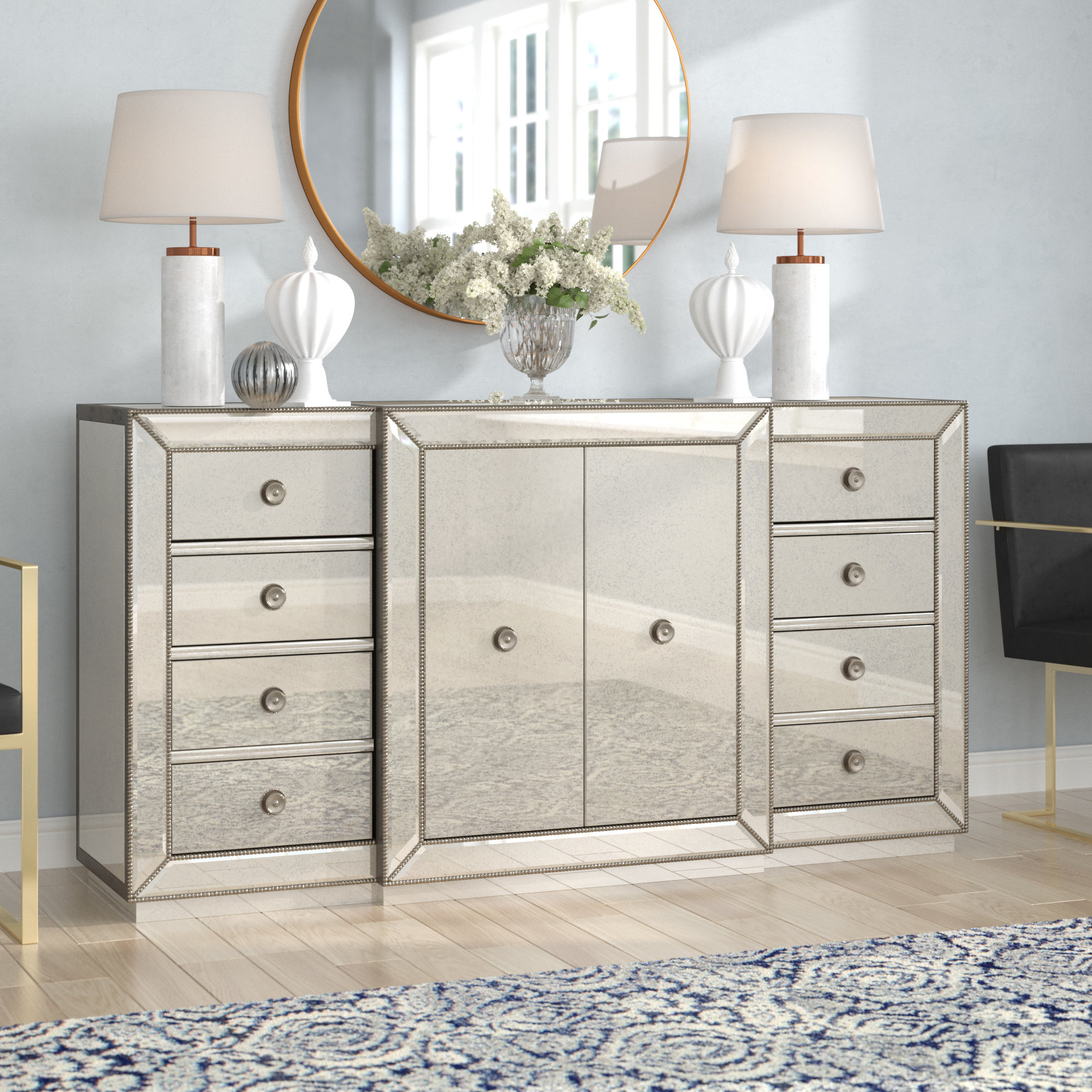 Rogerson Mirrored Sideboard With Regard To 3 Piece Mirrored Buffets (View 18 of 20)