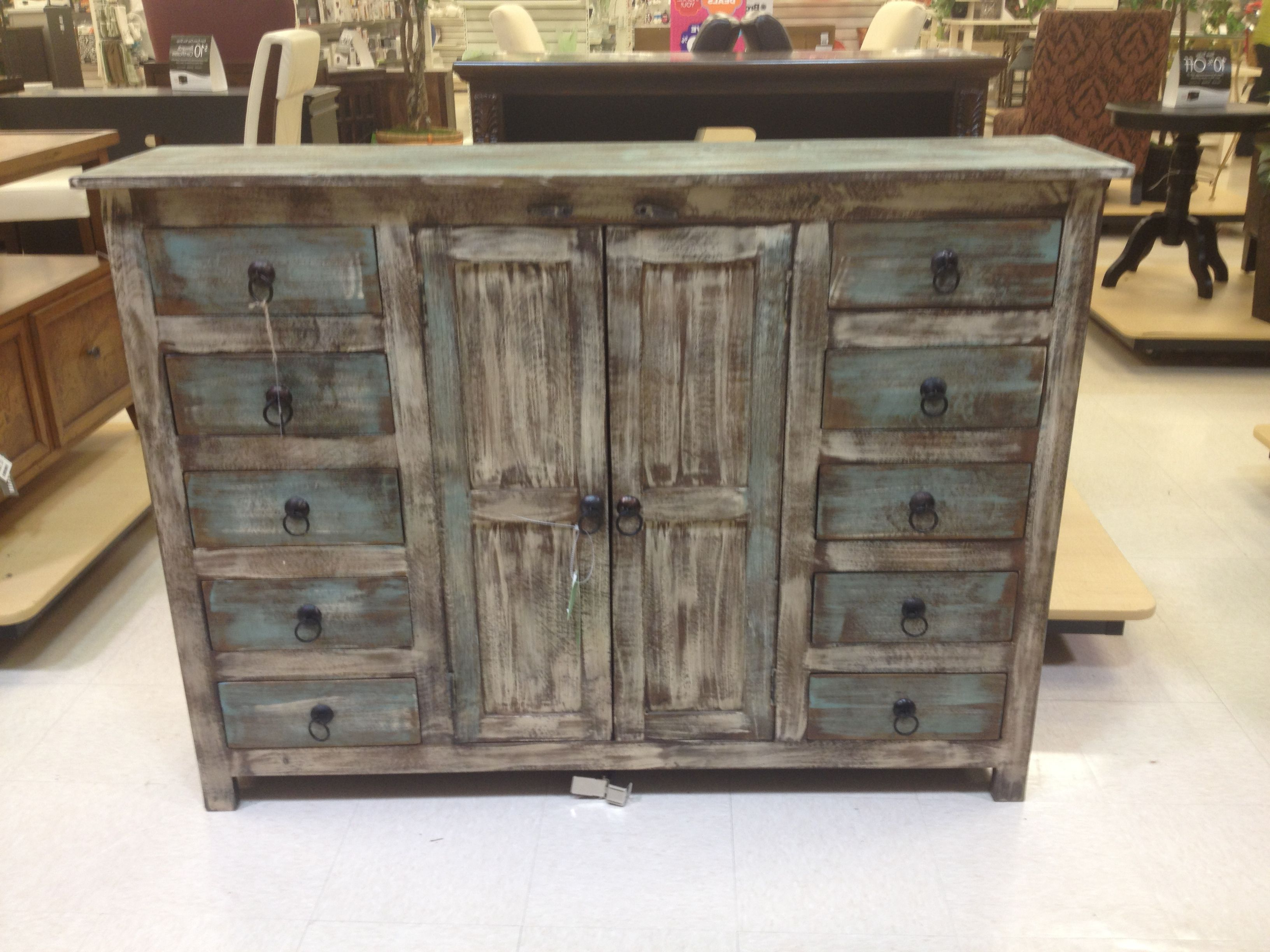 Rustic Weathered Blue Buffet Or Credenza | Home Goods $600 With Blue Stained Glass Credenzas (View 4 of 20)