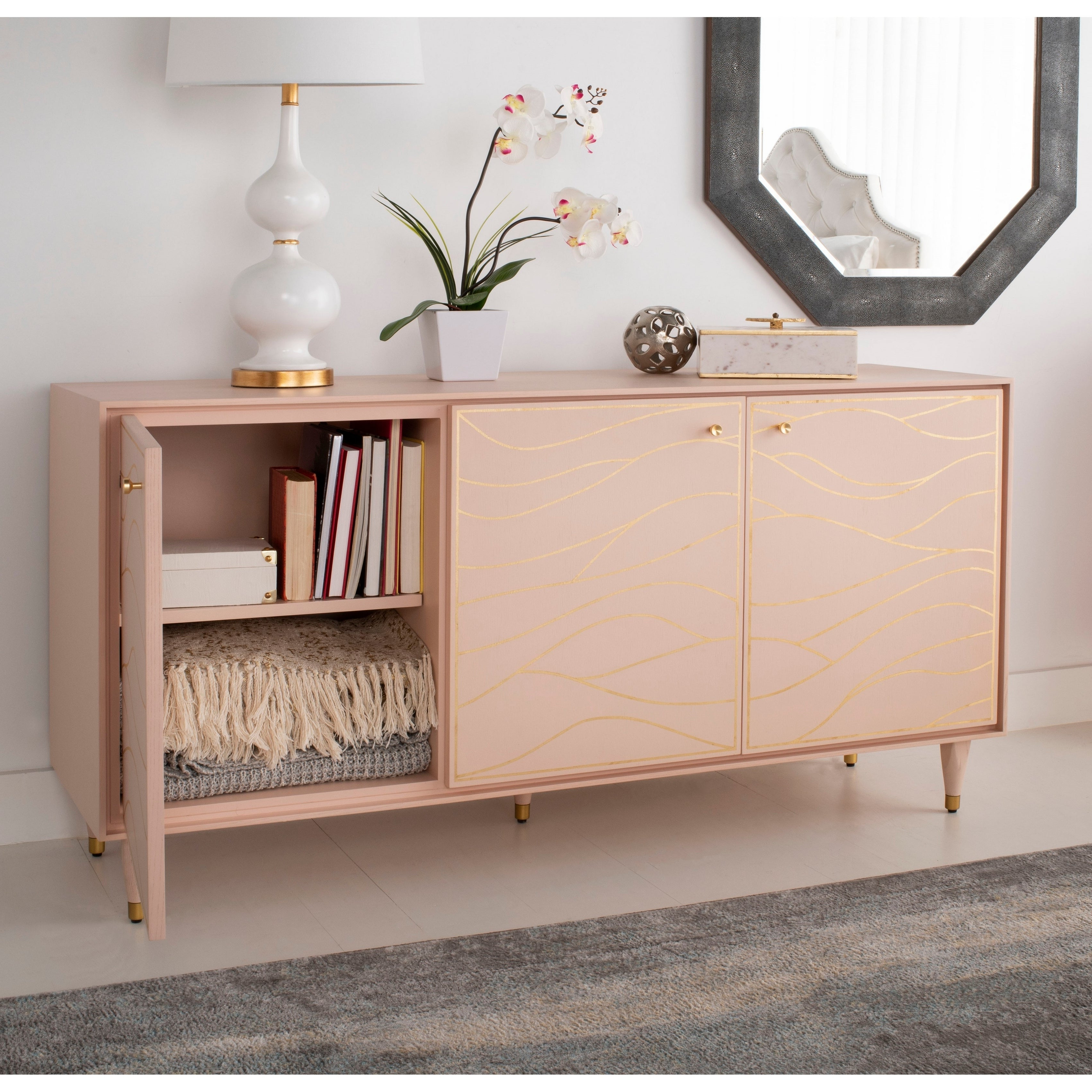 """Safavieh Couture Broderick Wave Sideboard – Pink / Gold – 60"""" X 18.1"""" X (View 14 of 20)"""