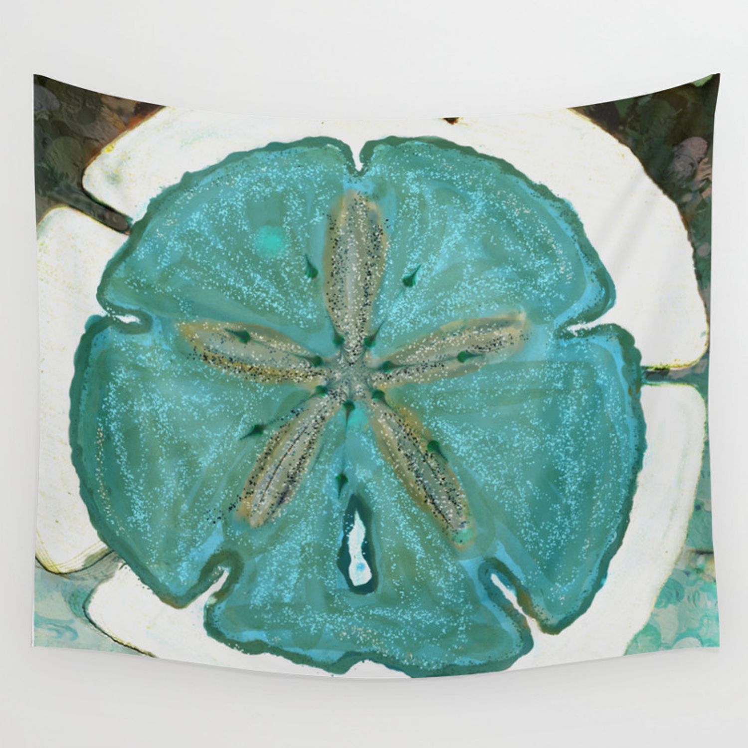 Sand Dollars Ocean Colors Wall Tapestry Within Mandala Tile Marine Credenzas (View 17 of 20)
