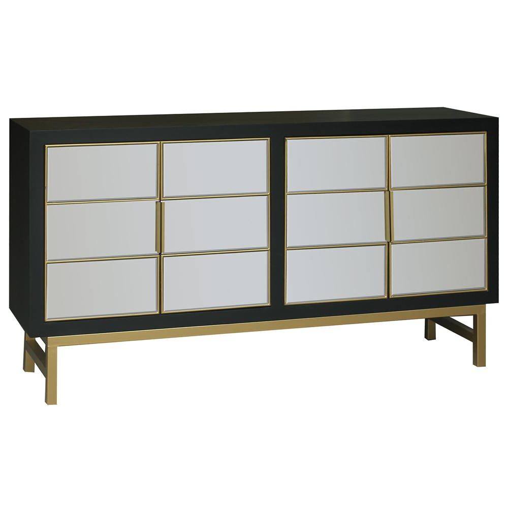 Satin Black 4 Door Channel Brass Overlay Credenza Regarding Contemporary Three Tier Glass Buffets With Black Metal Frame (View 14 of 20)