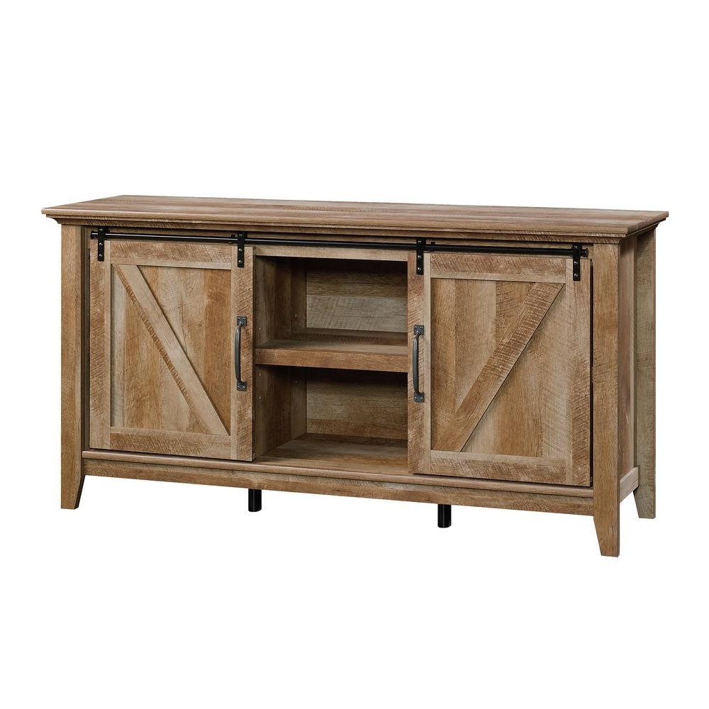 Sauder Dakota Pass Craftsman Oak Entertainment Credenza Pertaining To Turquoise Skies Credenzas (View 17 of 20)