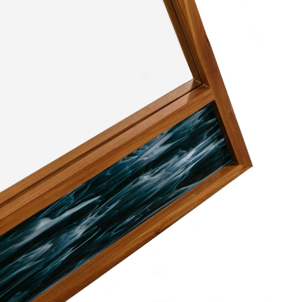 Scale Mirror, Walnut With Blue Stained Glass With Regard To Blue Stained Glass Credenzas (View 19 of 20)
