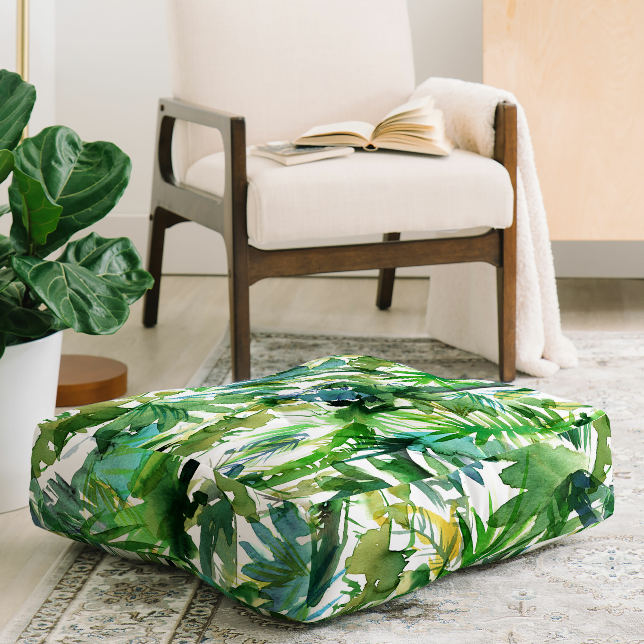 Schatzi Vibe Of The Jungle Floor Pillow Within Mandala Tile Marine Credenzas (View 18 of 20)