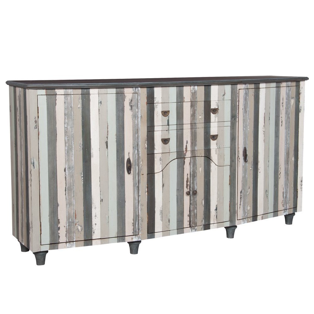 Seaside Cottage Striped Credenza Within Multi Stripe Credenzas (View 14 of 20)