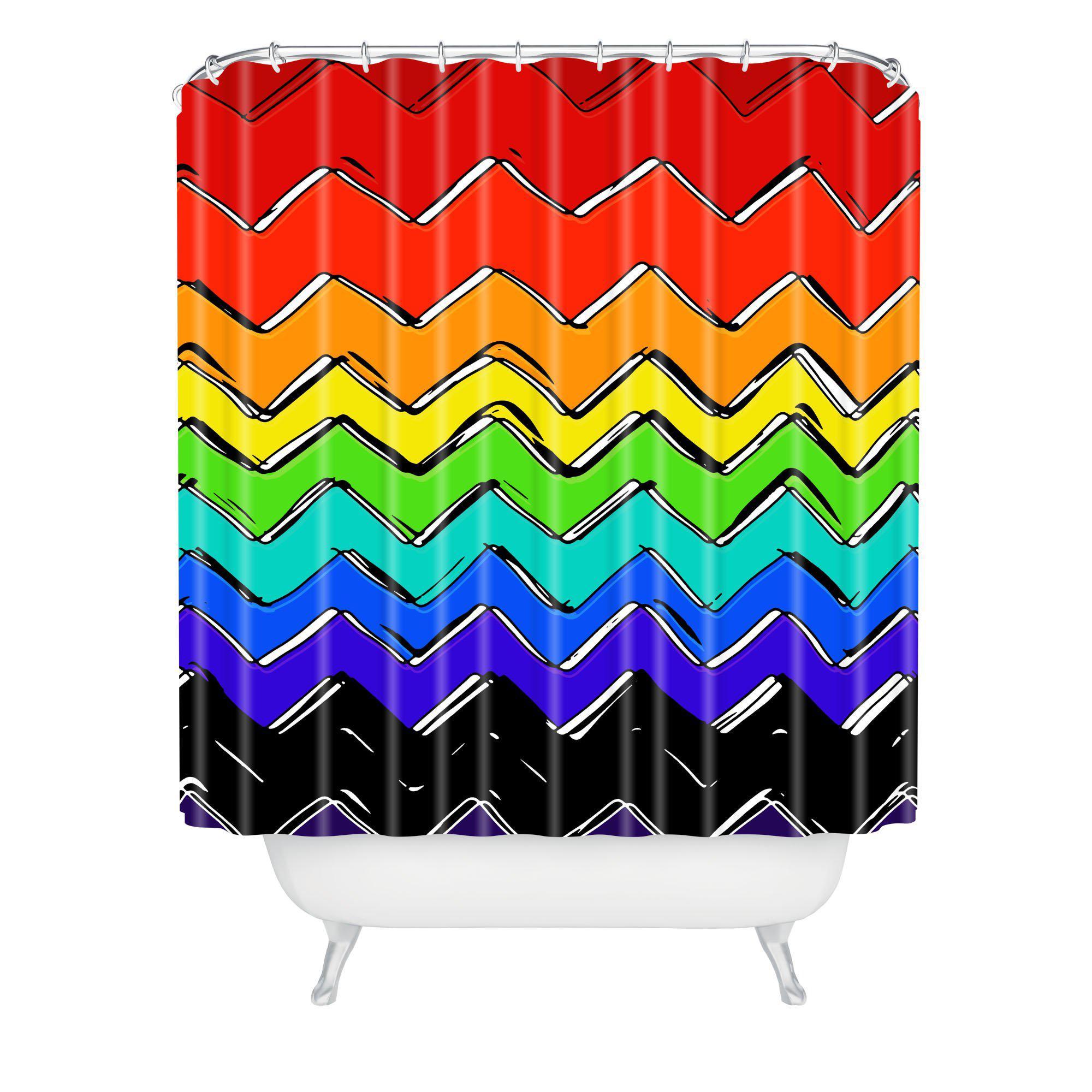Sharon Turner Rainbow Chevron Shower Curtain For Elephant Damask Paloma Credenzas (View 11 of 20)