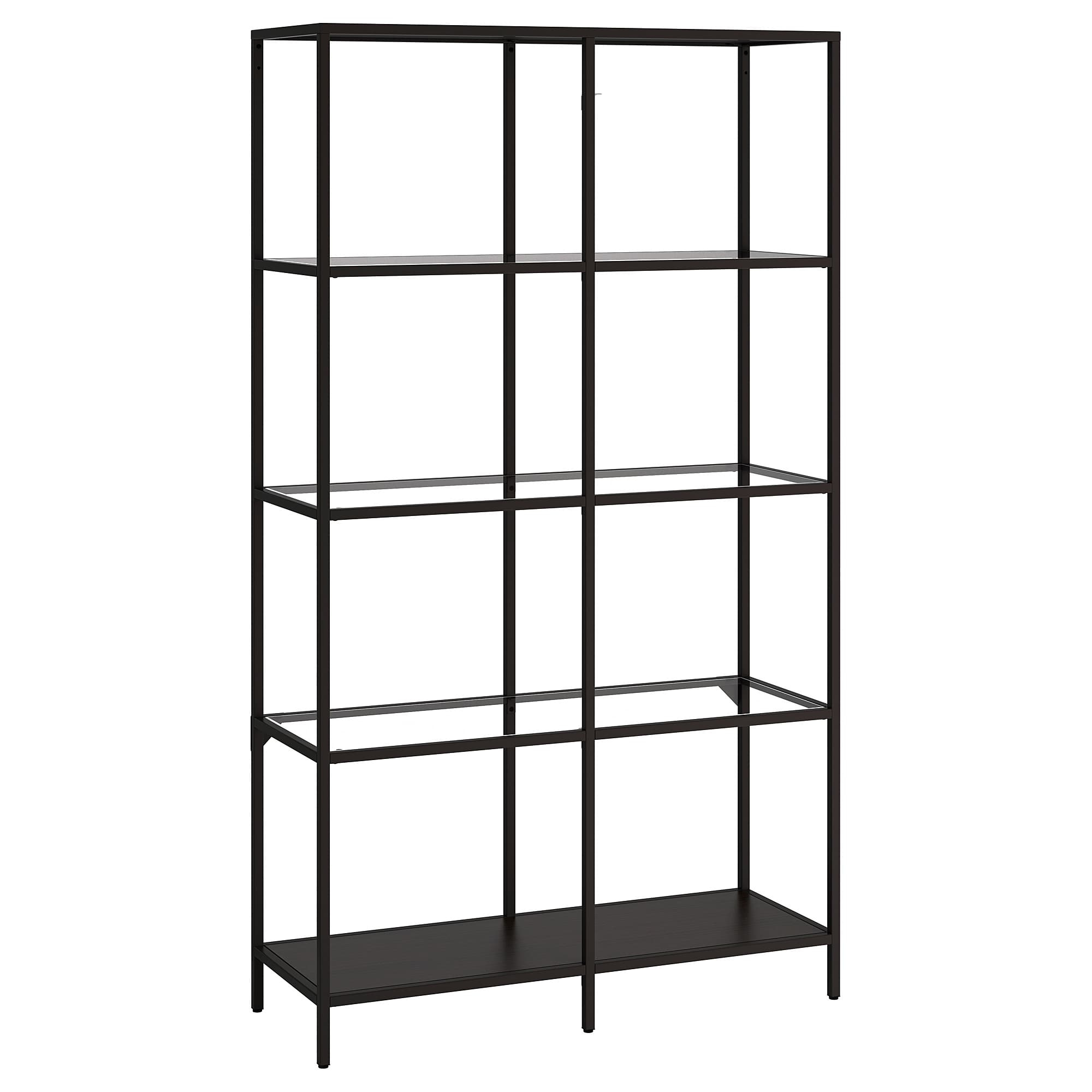 Shelf Unit Vittsjö Black Brown, Glass In Contemporary Three Tier Glass Buffets With Black Metal Frame (View 15 of 20)