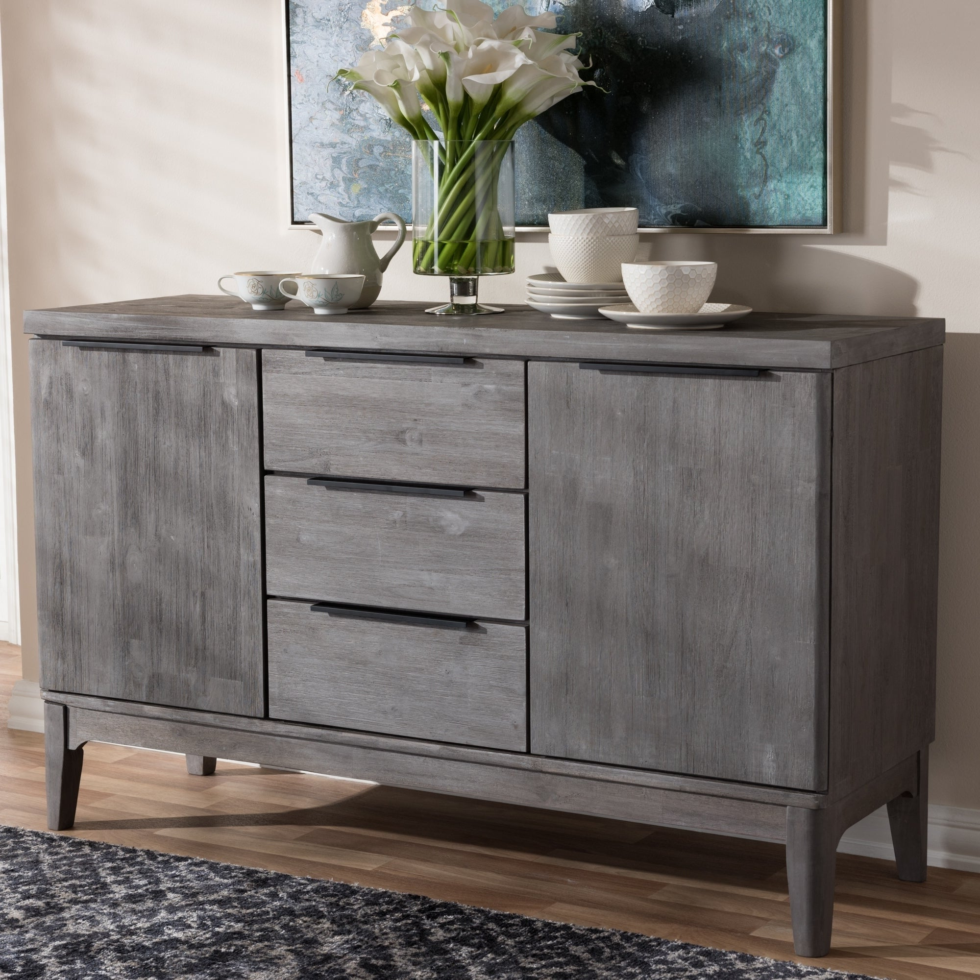 Shop Rustic Platinum Grey 3 Drawer Sideboard Buffet For 3 Drawer Titanium Buffets (View 14 of 20)