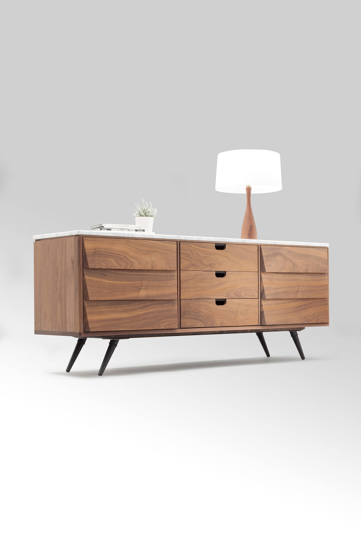Sideboard / Cupboard / Credenza In Solid Board Oak / Walnut Throughout Ocean Marble Credenzas (View 17 of 20)