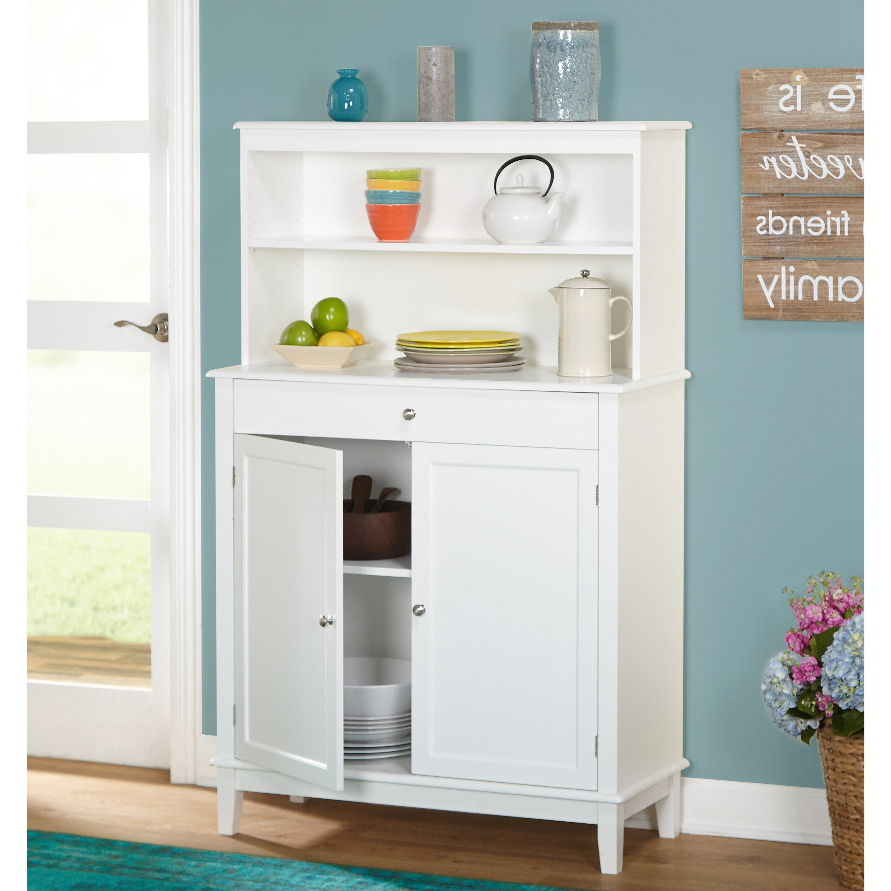 Simple Living Farmhouse Buffet With Hutch With Regard To White Beadboard Buffets (View 11 of 20)
